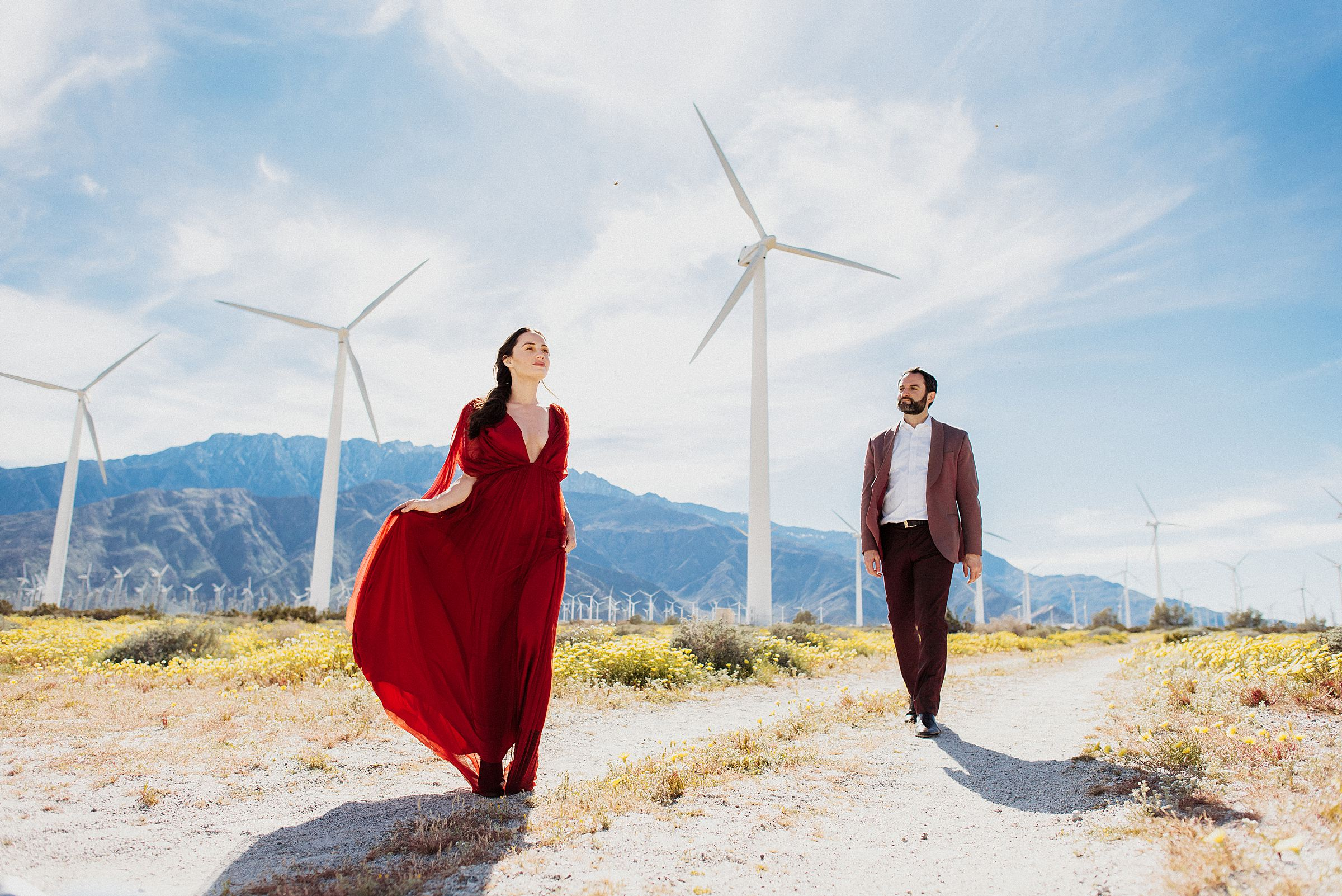 engagement session at palm springs windmills