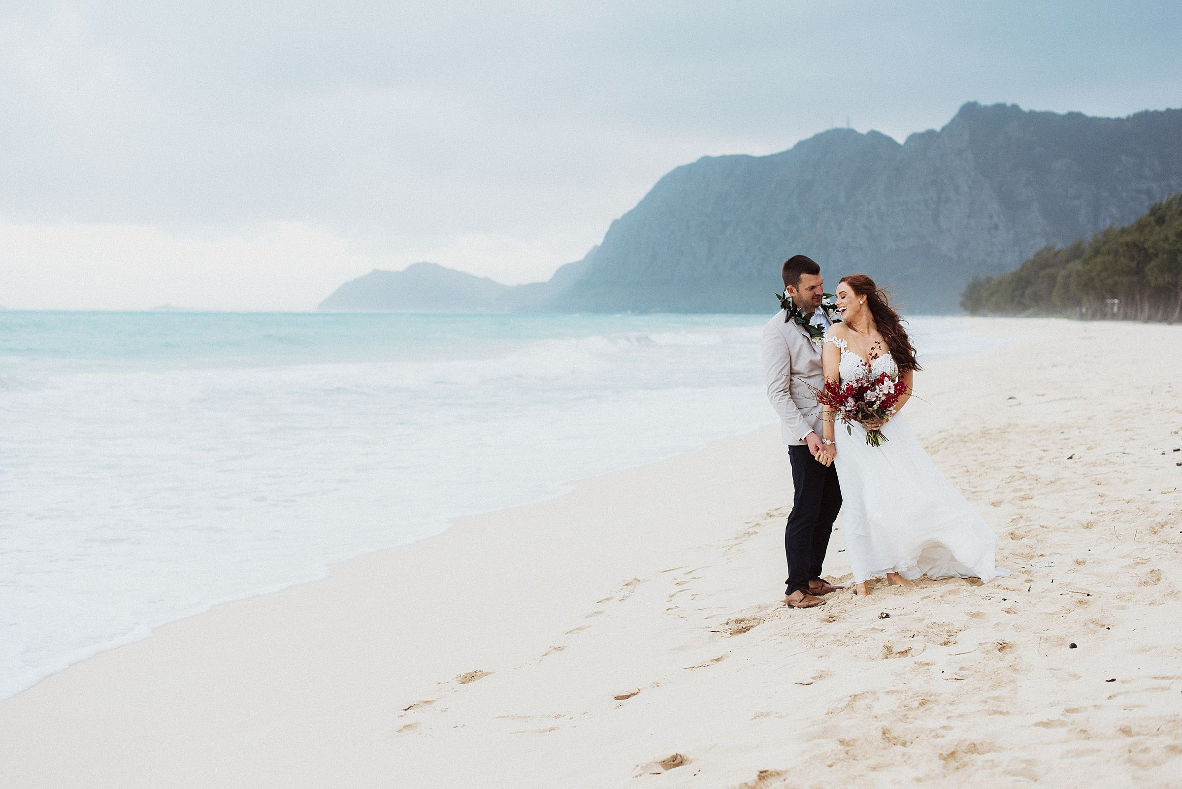 wedding ceremony at Waimanalo Bay