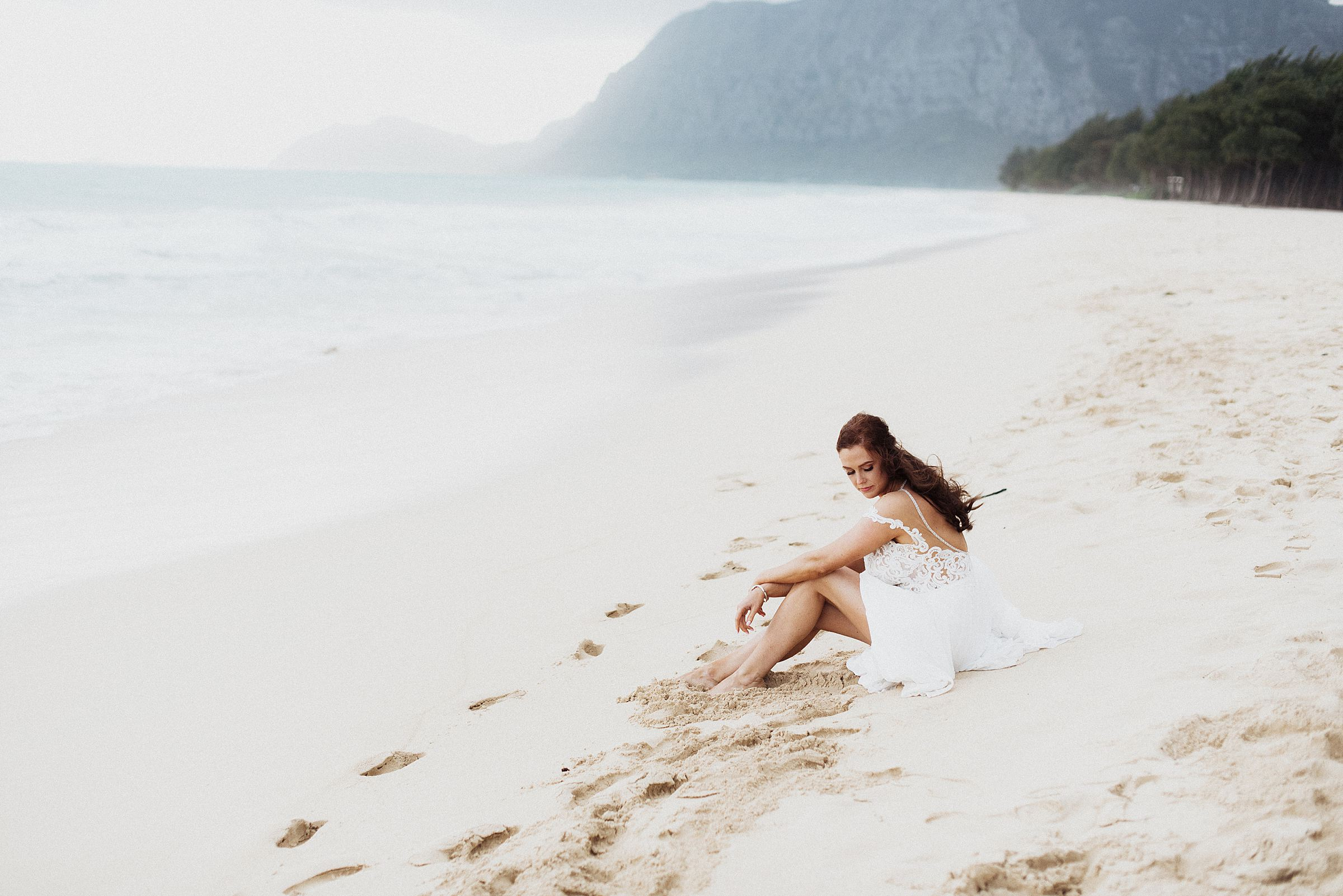 Waimanalo Bay wedding bridal portraits
