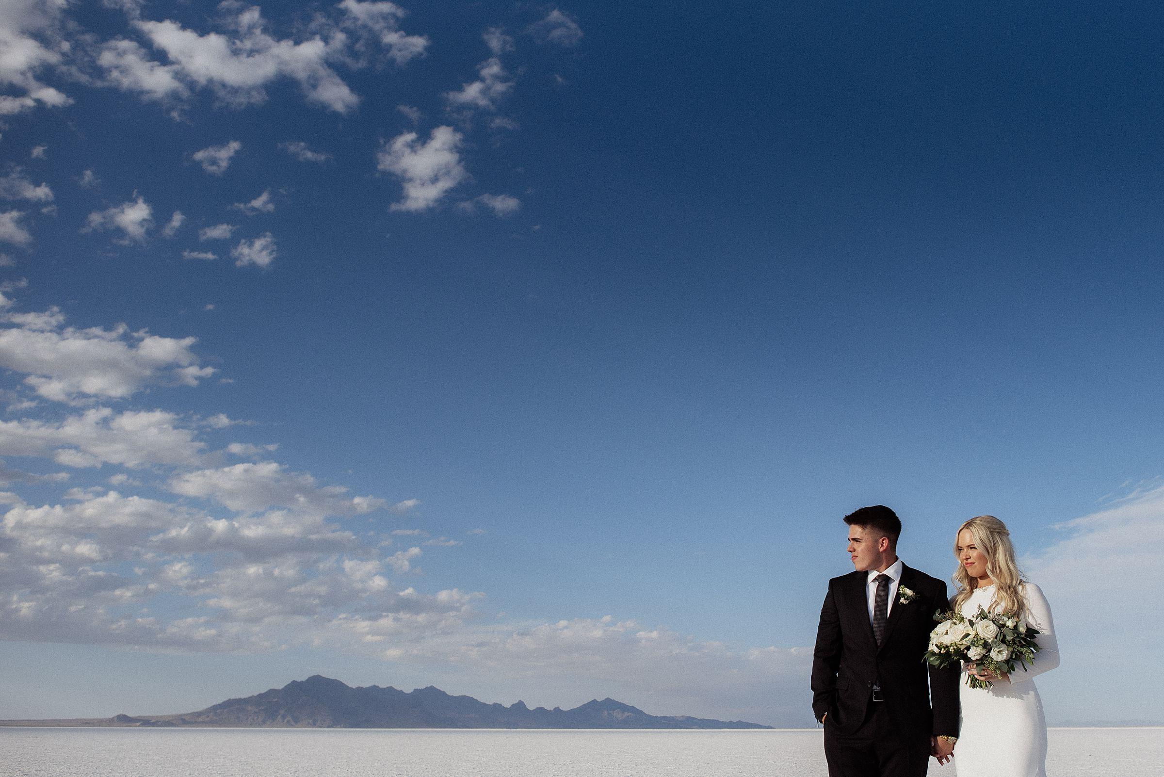 bride and groom at the bonneville salt flats