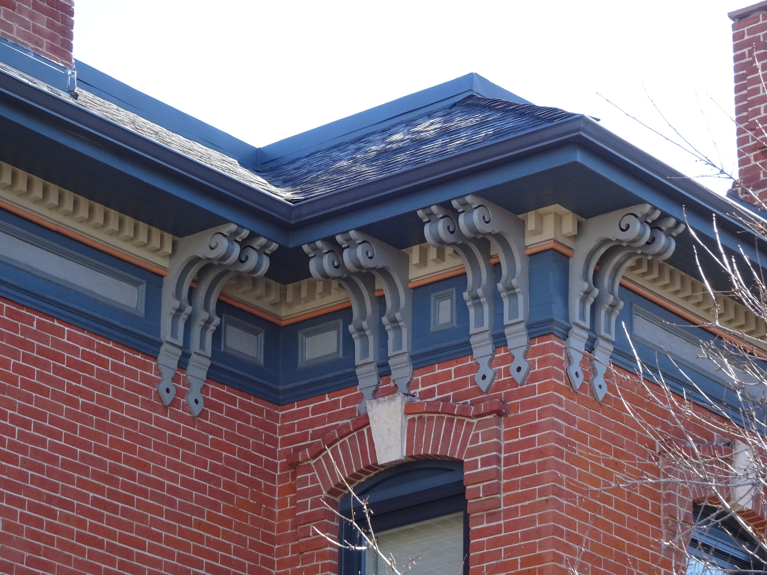 Wood Trim - Most historic residences in Curtis Park have attached wooden decoration, such as roof cornices and gable ends with shingled ornamentation.