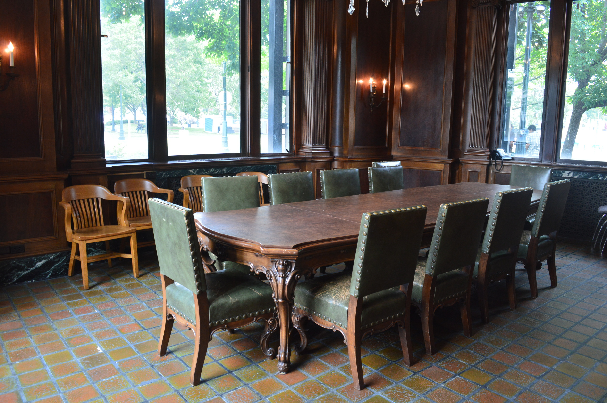This conference room was furnished in 1967 by the HIstorical Society in memory of Albert Elser, the president of the bank in 1928, and Alfred Elser, a member of the board of directors.
