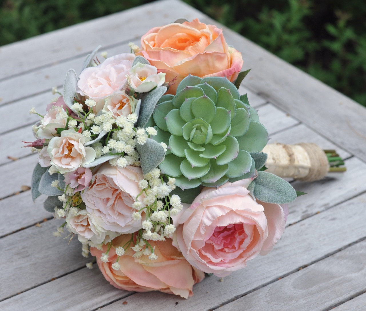 Peach And Pink Cabbage Roses Succulents Baby Breath Silk Flower