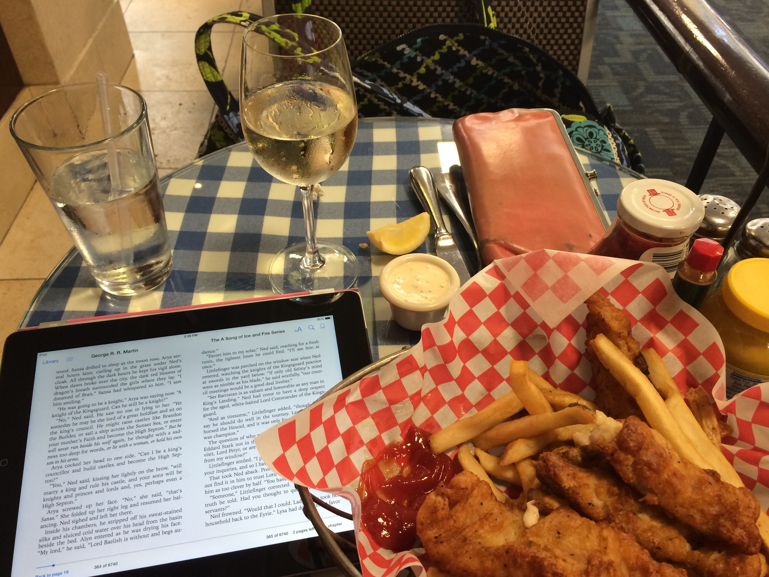 Not a very decadent meal, but I quite enjoyed unwinding at the airport with Fish 'n' Chips, Pinot Grigio, and some Game of Thrones ;)