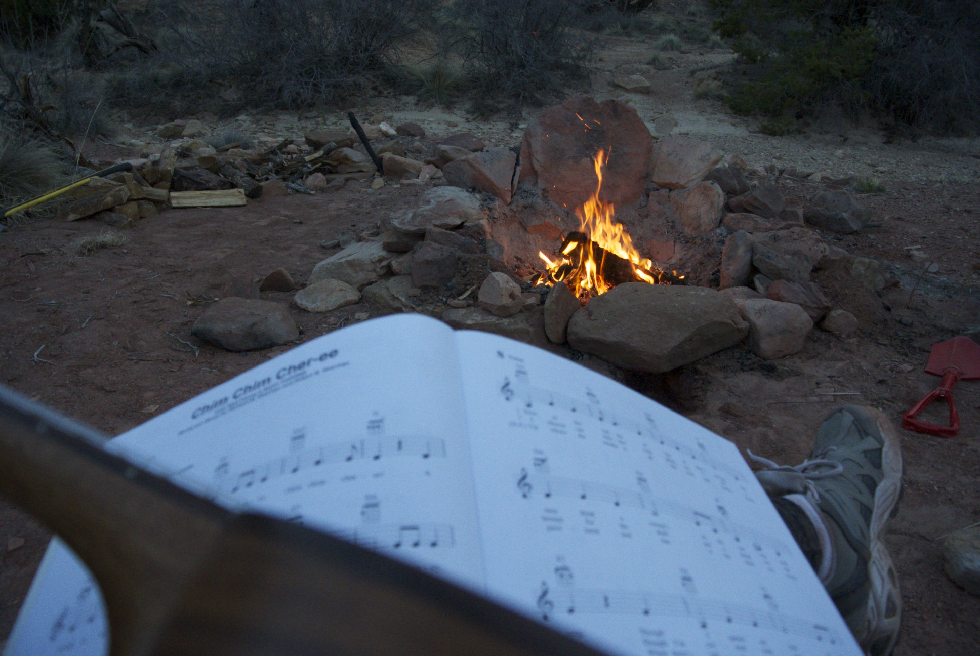 Playing Disney songs on the ukulele by the campfire