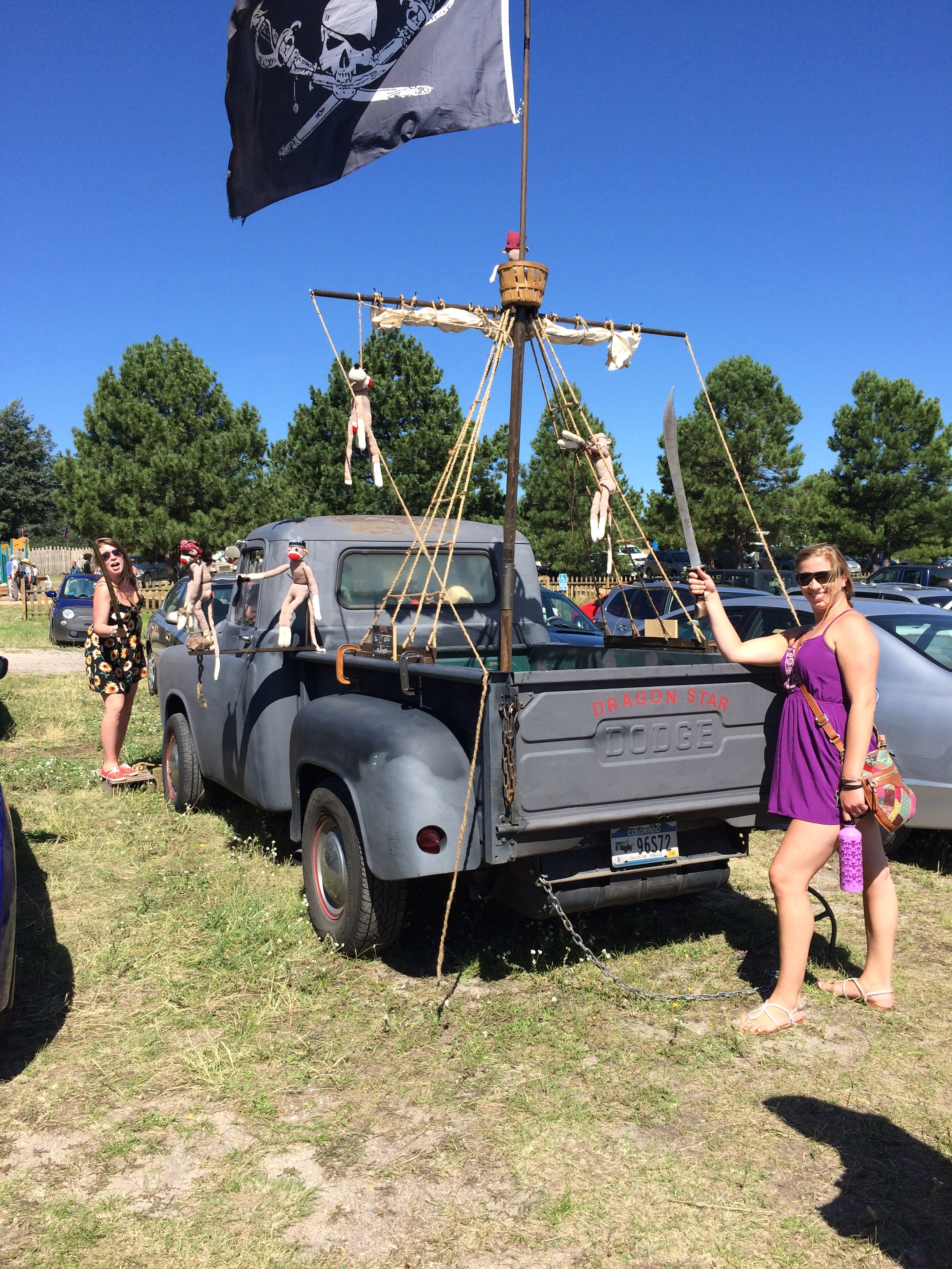 Coolest Pirate Truck ever next to a couple of my favorite ladies (Kailey and Chloe)