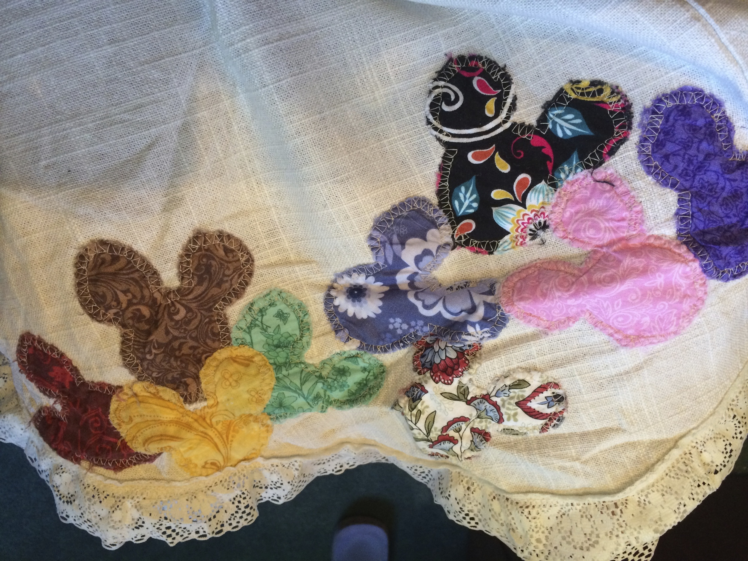 Underneath these colorful Mickey heads is actually a seam I sewed the wrong way.