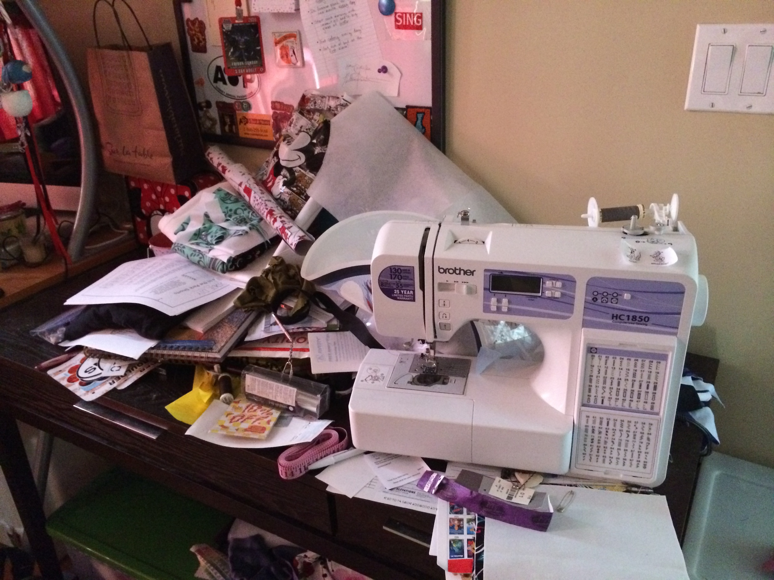 Here is my sewing desk before...YUCK (though in my defense, it was one of the last things I cleaned, so I had been piling stuff on it through the whole process. It