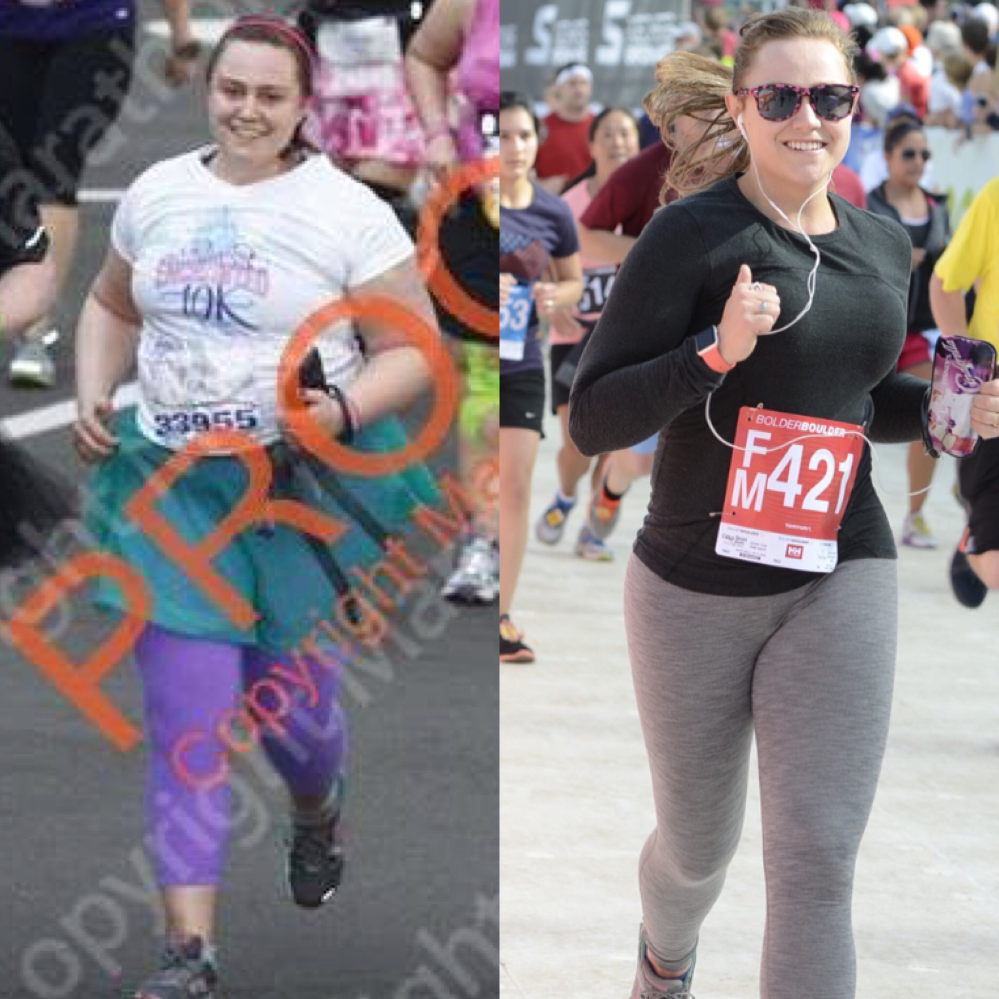 Feb 2014 Enchanted 10k in Disney World on the left. May 2015 BolderBoulder 10k on the right.