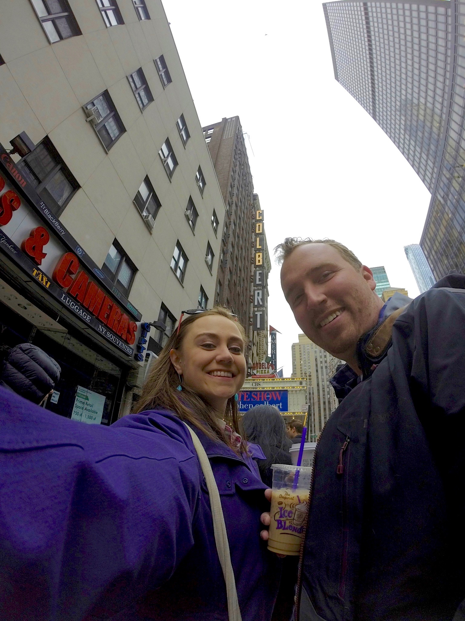 Outside the Ed Sullivan Theater - taken with our GoPro - which I love for these fun wide-angle shots, and not knowing what you've gotten until you upload it to your computer!