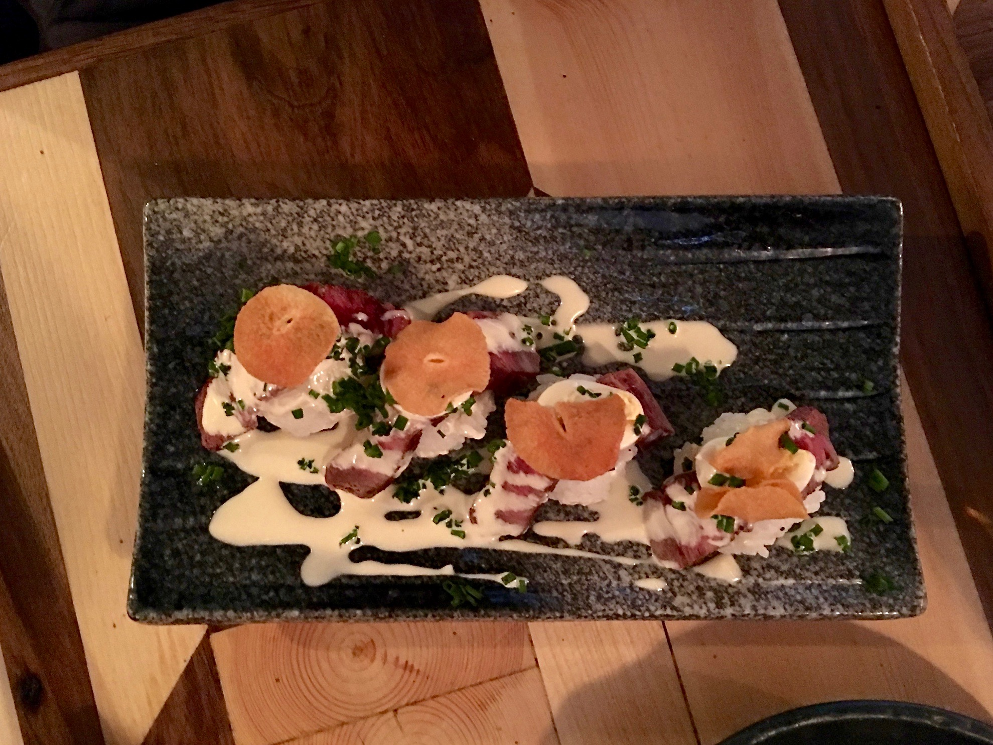 """""""Nigiri"""" at Public House -made with beef, garlic crisps, and truffle!"""