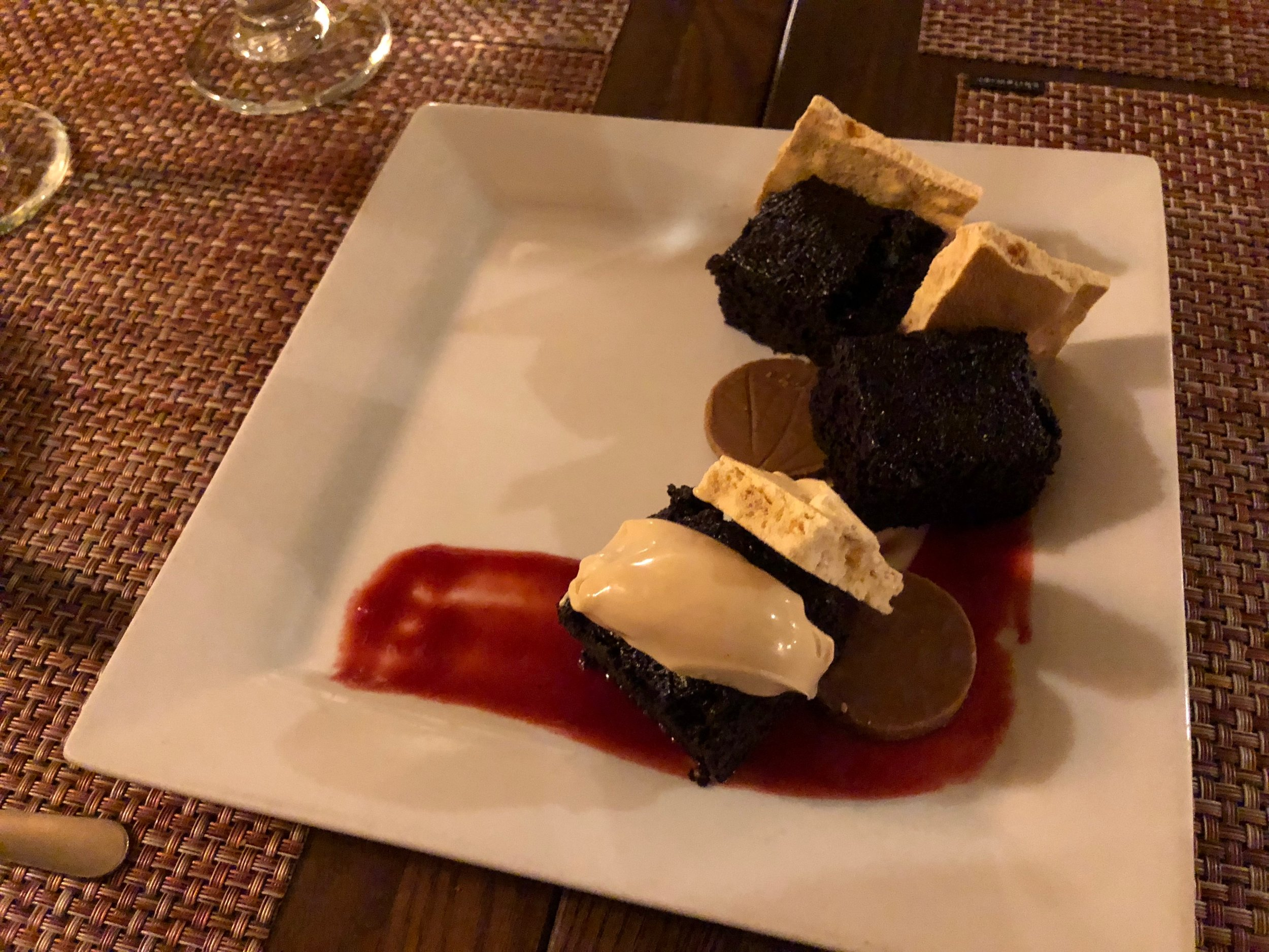 Chocolate Olive Oil Cake with peanut butter honeycomb and raspberry sauce at El Farol