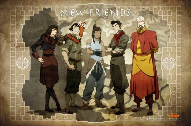 The new Team Avatar: (L to R) Asami, Bolin, Korra, Mako, Tenzin