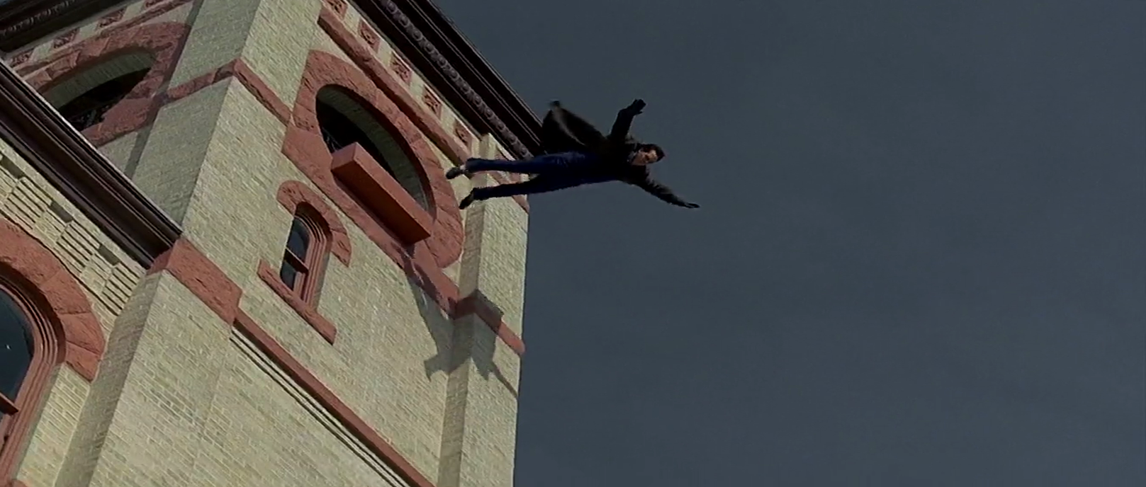 Phil jumps from a building in one of his many suicides.