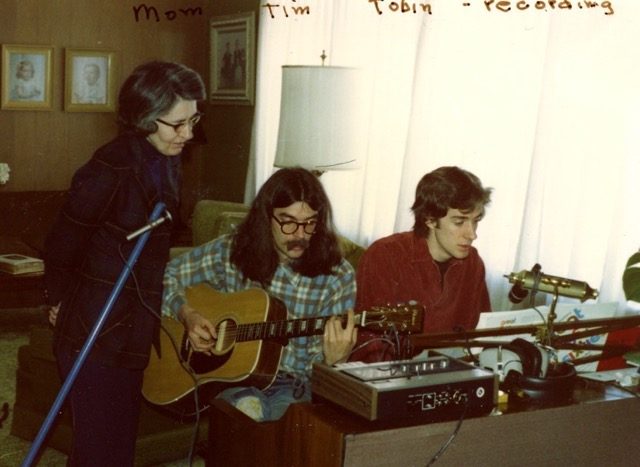 Tobin (far right) at age 15 recording with his mother and brother.