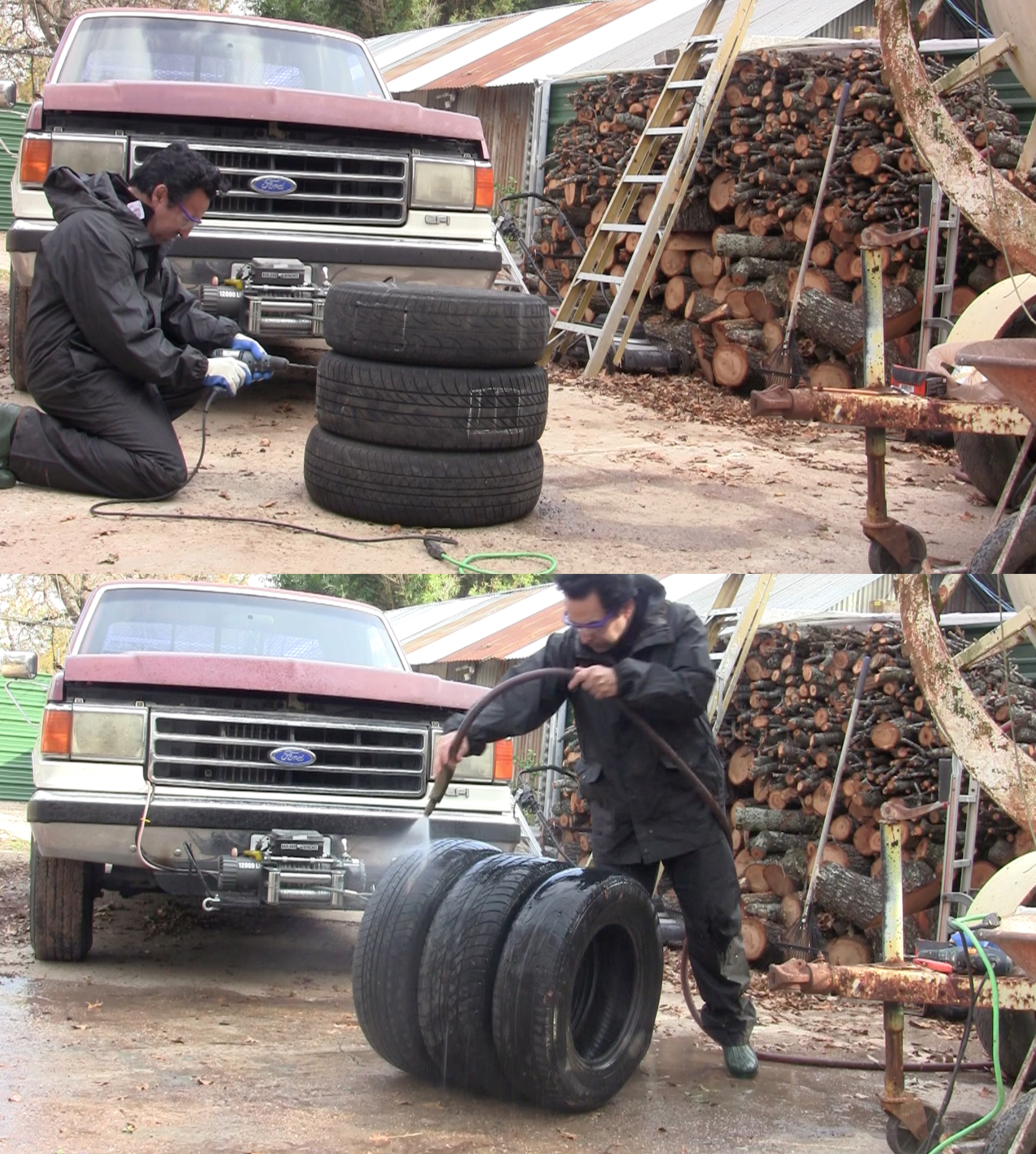 Marking and drilling the holes. Drenching the tires.