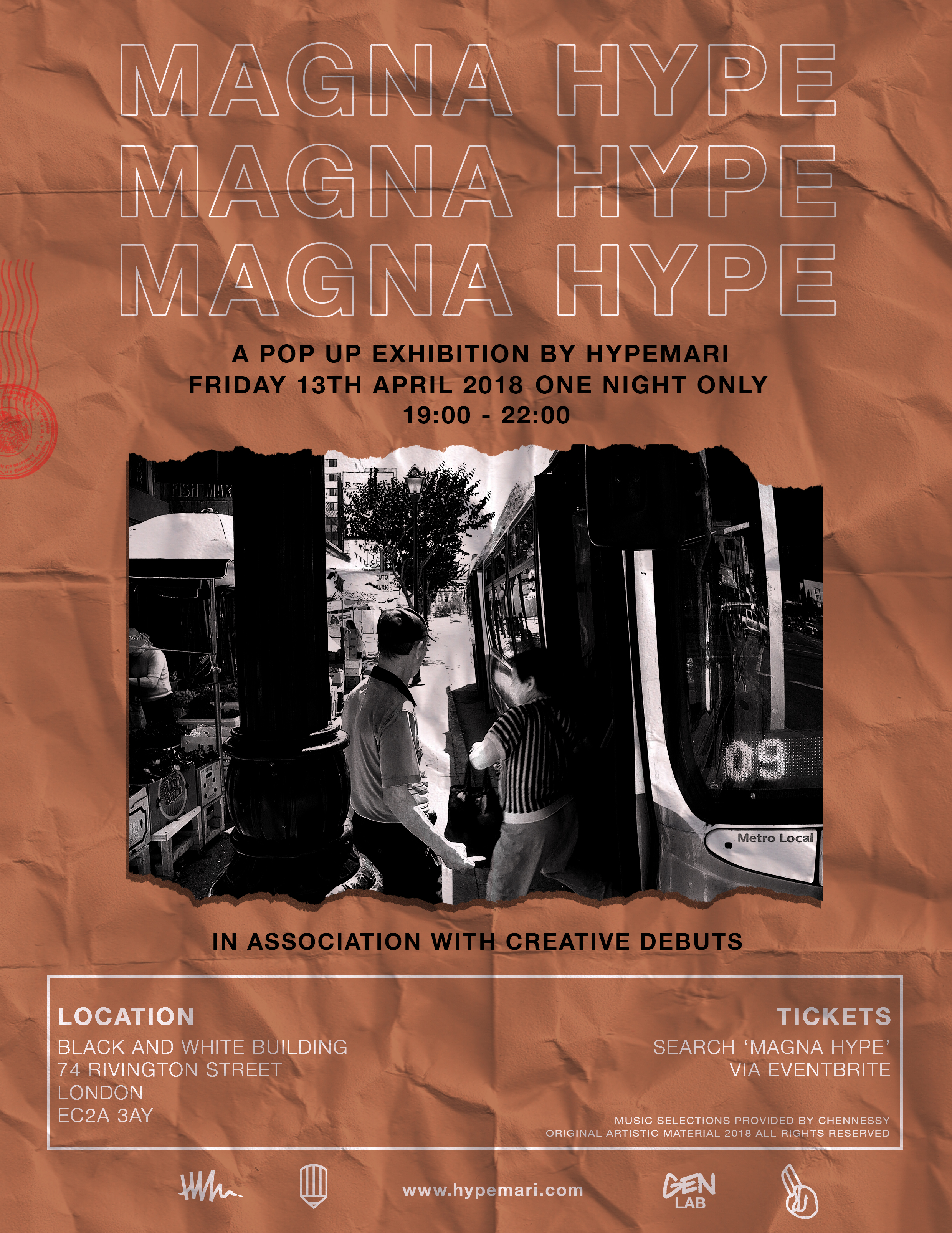 - A solo Pop up Exhibition by Hypemari, Magna Hype is a collection of his favourite works dating from 2014-2018. Featuring selected works from a variety subjects & locations. Magna Hype was Hypemari's 7th consecutive exhibition and 2nd show in London. Collaborating with Art agency Creative Debuts, the exhibition was a one night only affair in the heart of Shoreditch, East London.