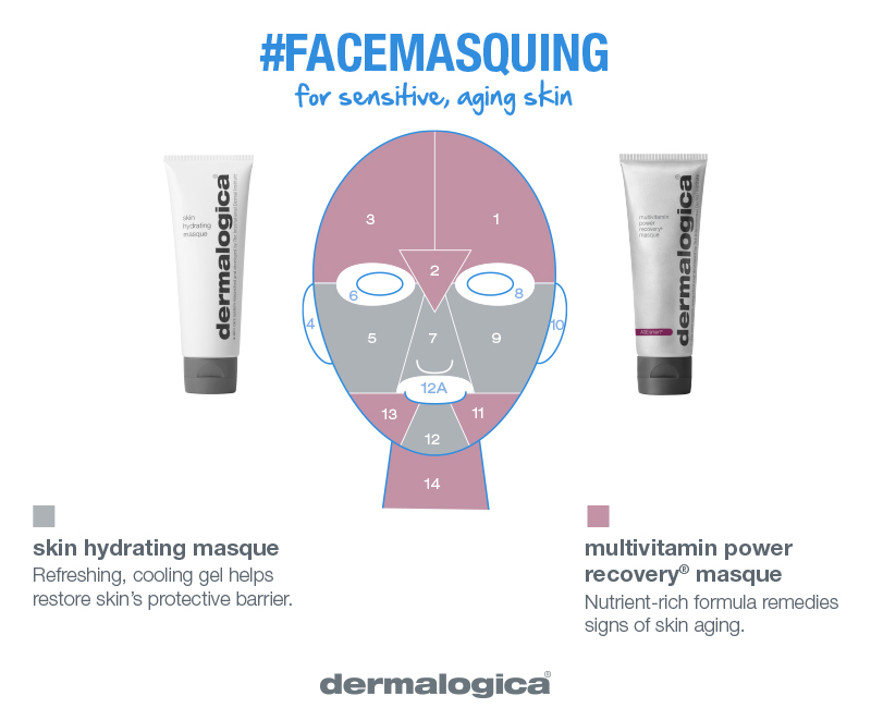 sensitive and aging skin masque combo  soothe, hydrate, rescue   Sensitive skin with aging concerns? Soothe discomfort across indicated zones with Skin Hydrating Masque. Apply MultiVitamin Power Recovery Masque to address fine lines and uneven skin tone.
