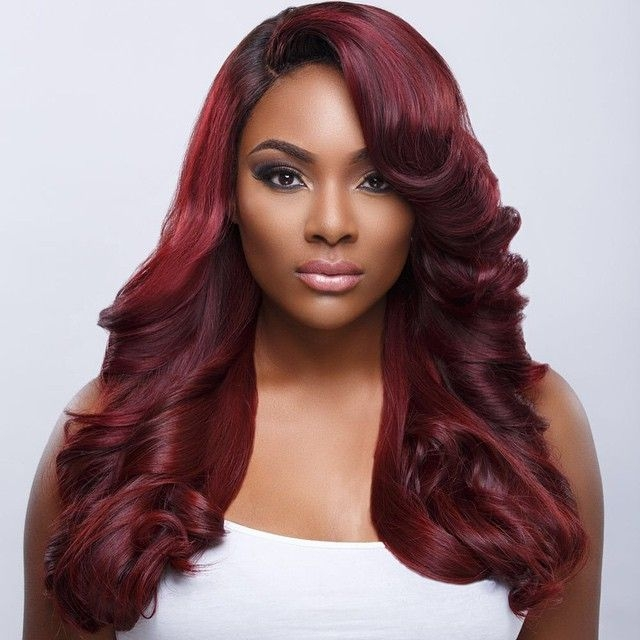 Dark Red Two Tone Weave Hairstyle Good Hair Black Beauty African African American Weave Hairstyles African American Weave Hairstyles