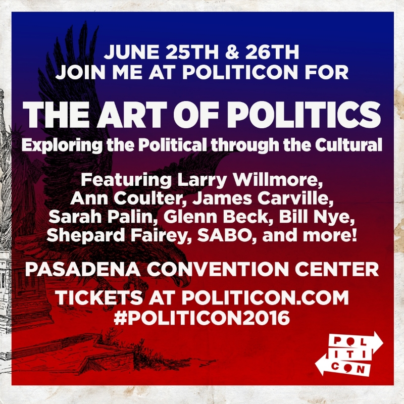 Several of my pieces are on view in Politicon, the Art of Politics, alongside Shepard Fairey and others, June 2016