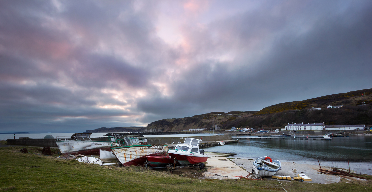 Boats in Church Bay at sunset.
