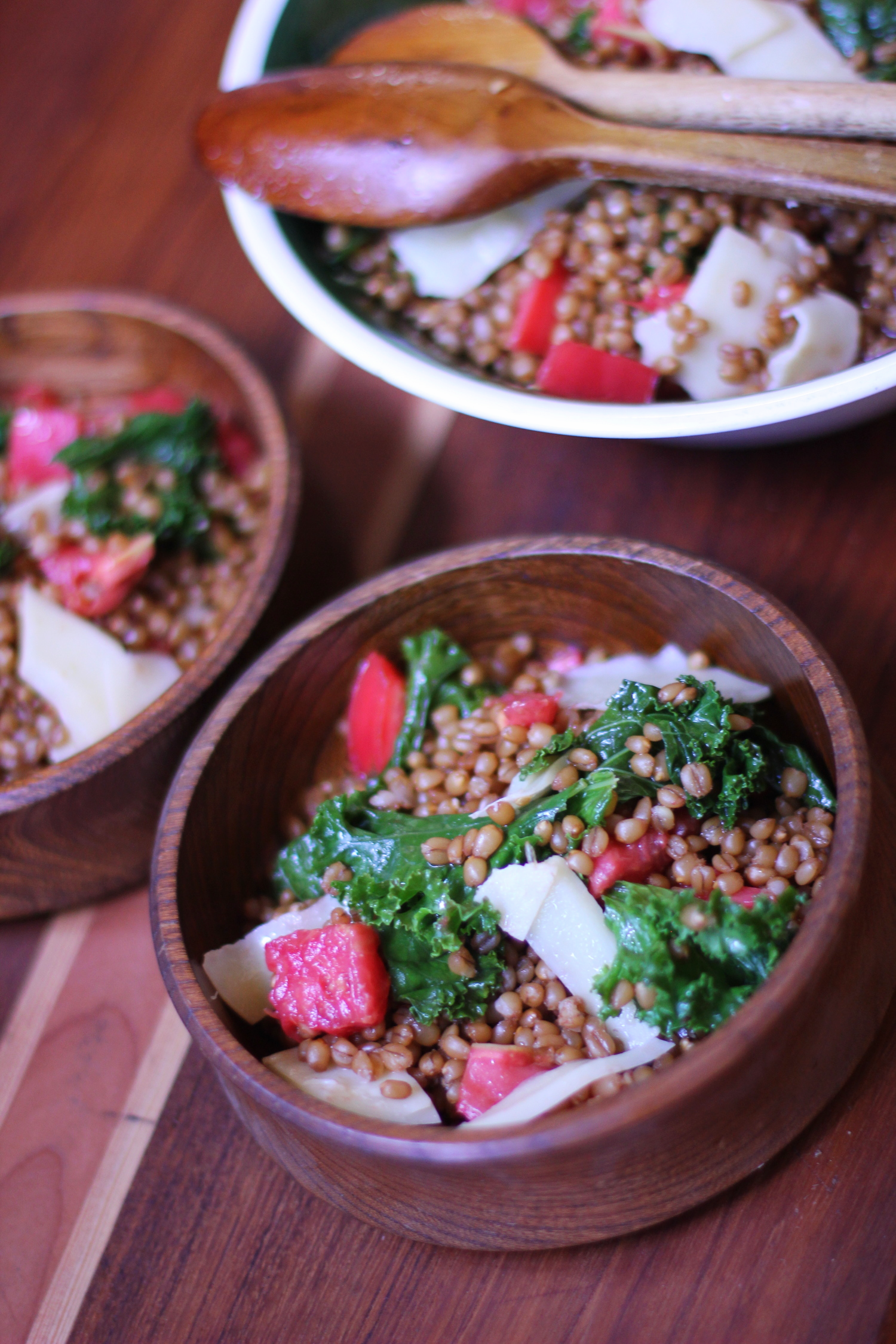 wheatberries and kale