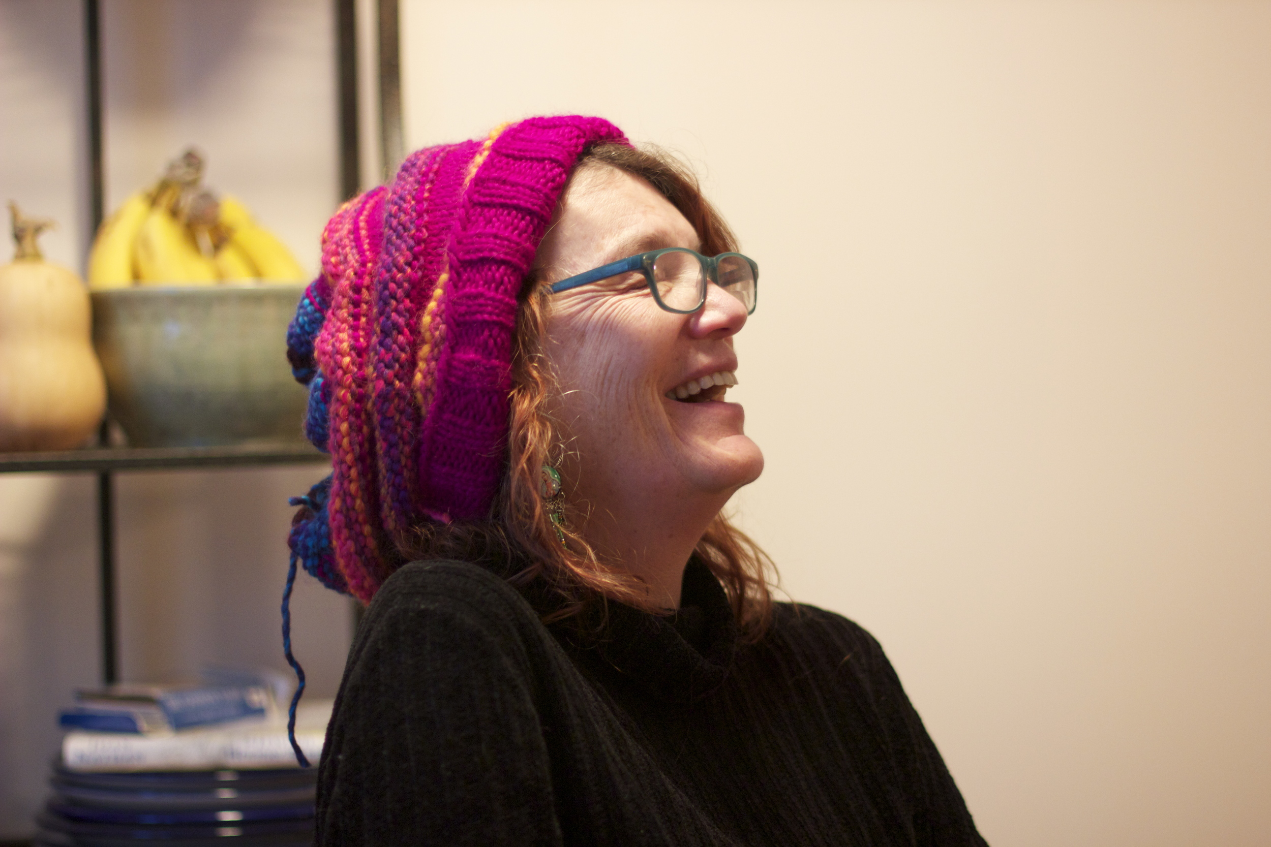 love this picture of my mama in the awesome hat she whipped up