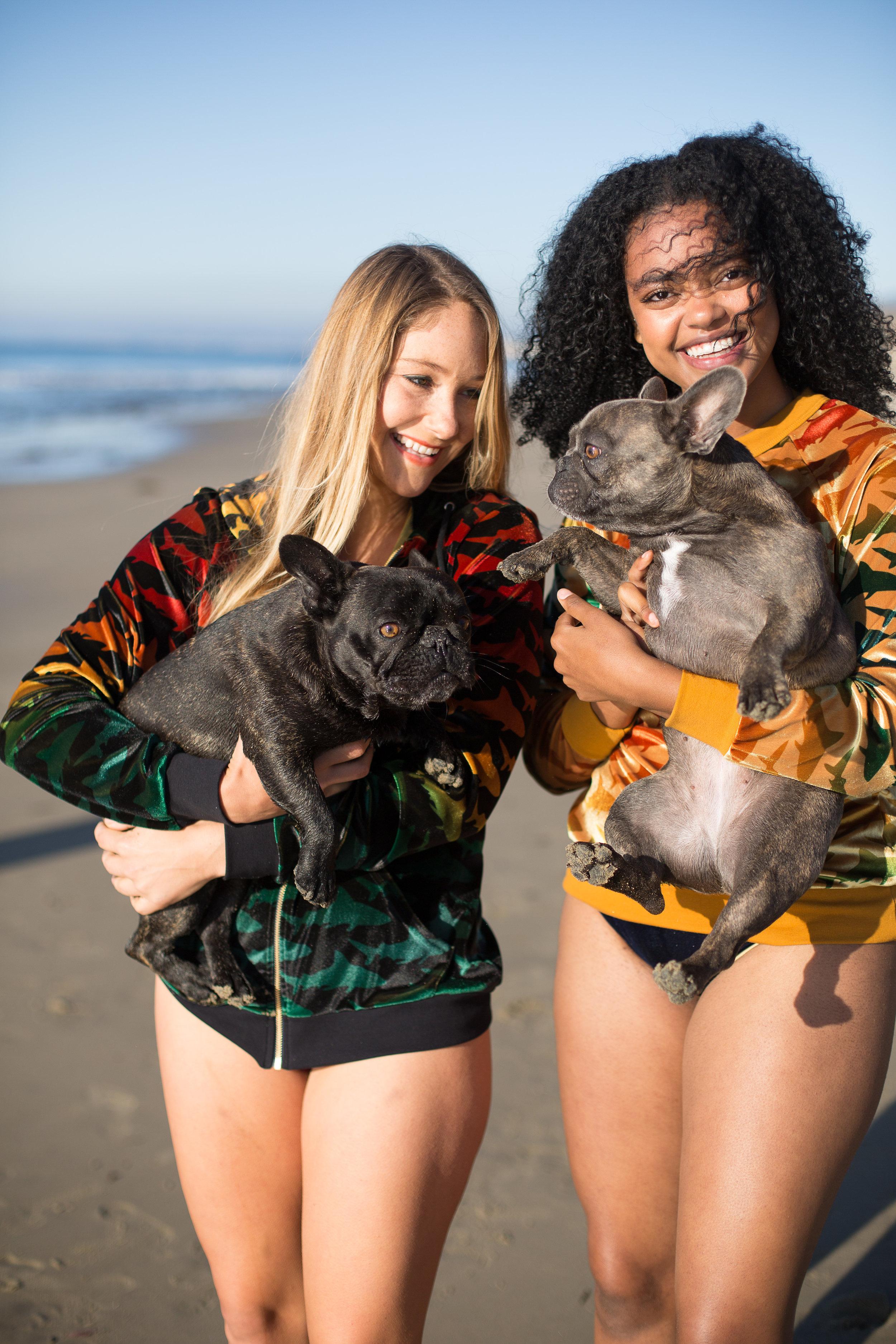 Left: Velvet Shark Hoodie in Black $207; Right:Velvet Shark Sweatshirt in Gold, $184