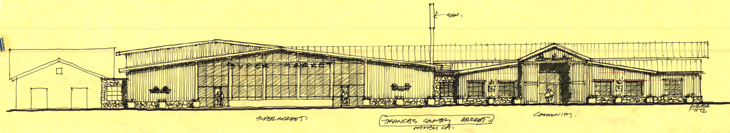 """Burdge's sketch ahead of his renovations of the Trancas Country Mart and above, the finished product. If the Country Mart project sustained some community pushback in the beginning, as soon as it opened it was garnering glowing reviews from locals. """"It very much fit the vibe and desires of western Malibu,"""" said Malibu City Council member Laura Rosenthal."""