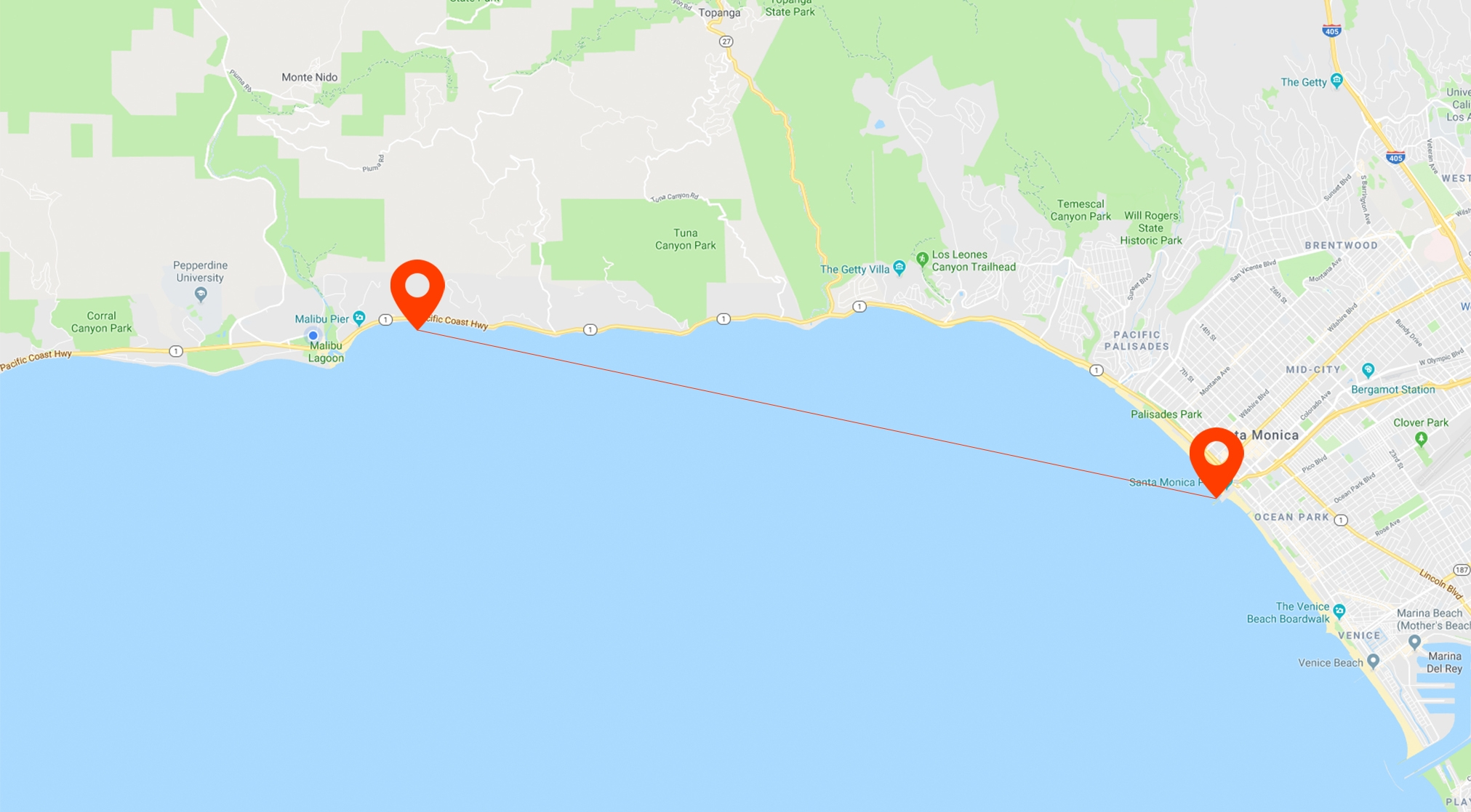 The proposed route of a ferry from Santa Monica to Malibu.