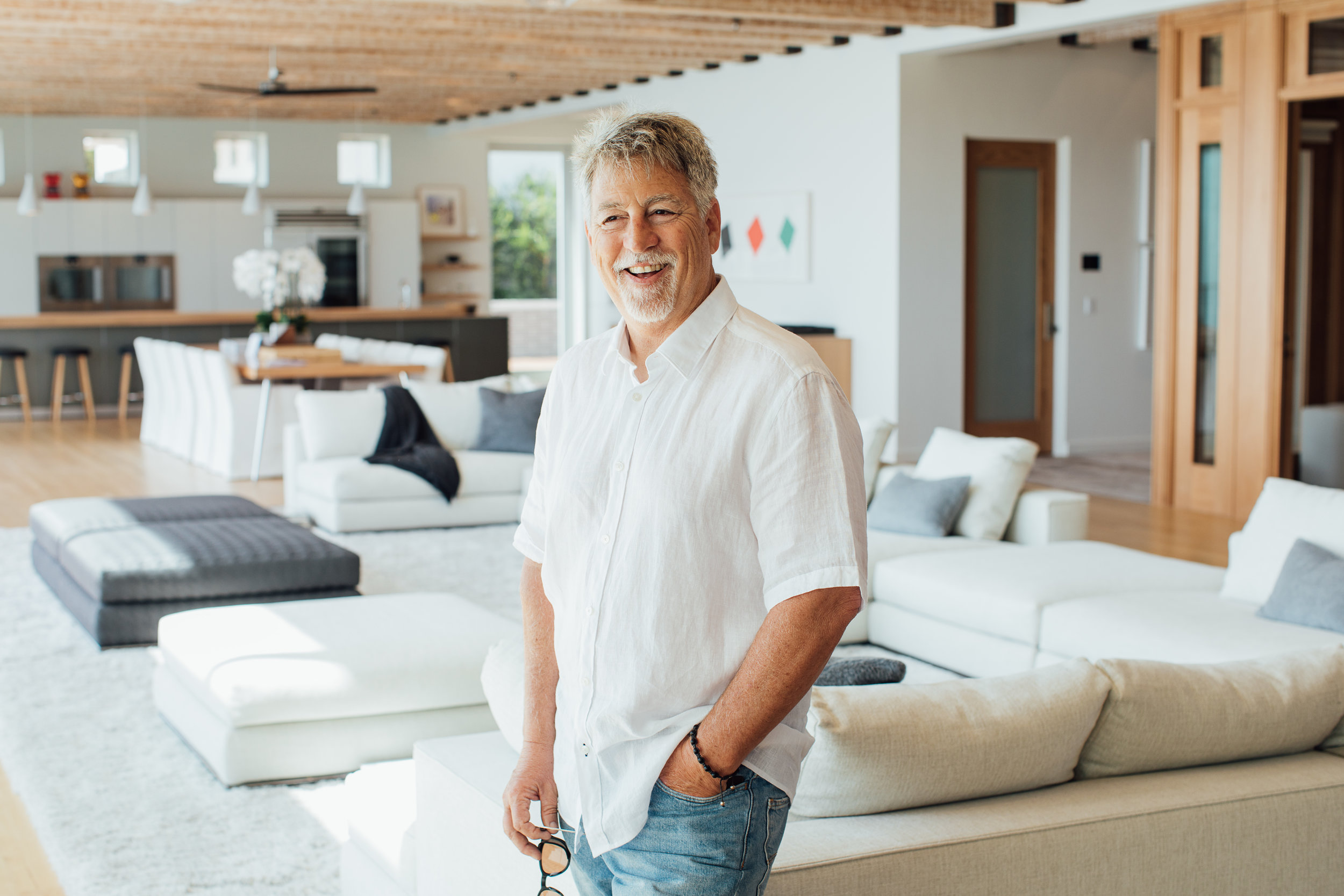 Gillen at his landmark Malibu home, The New Castle.
