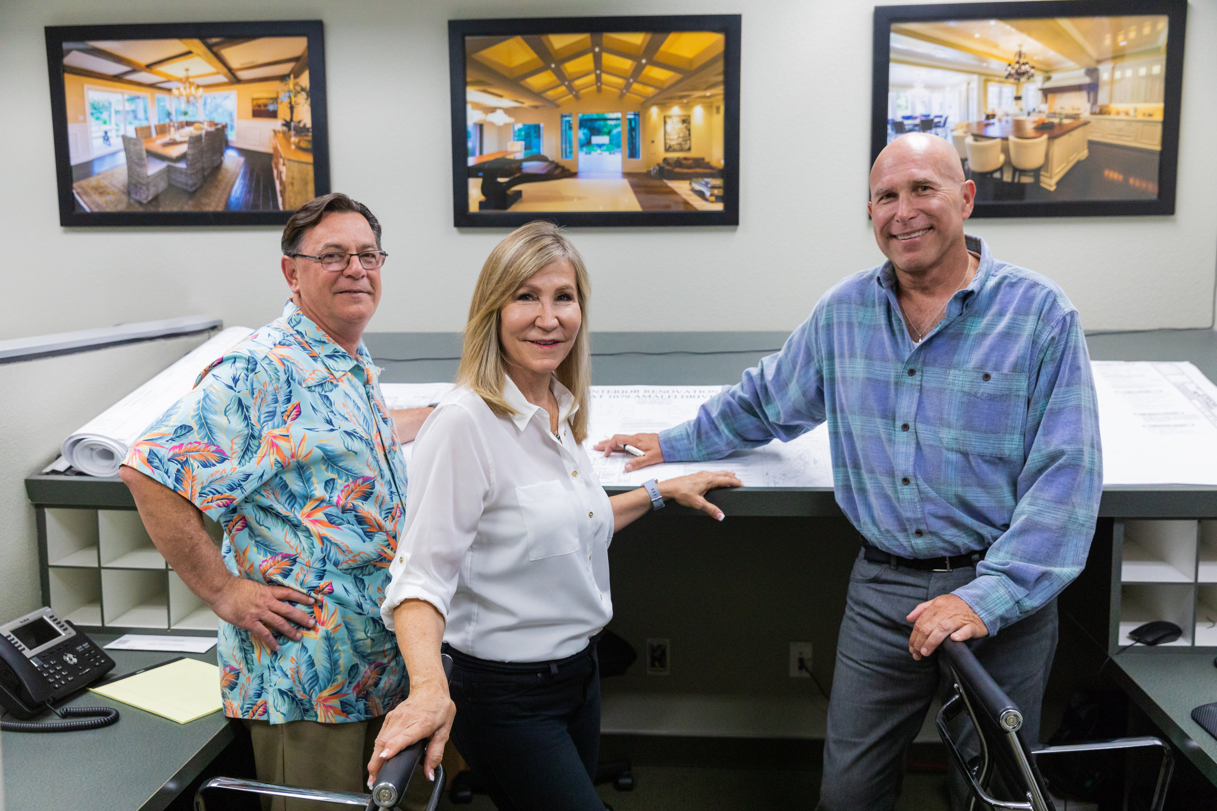 The Team Principals Karen Arri-LeCron and James LeCron work with their contracting partner Bob Neisner (right) from the onset of design, ensuring plans stay within budget.