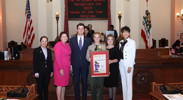 State senator Henry Stern named Lieutenant Seetoo 'Woman of the Year', 2019, for the 27th Senate District.
