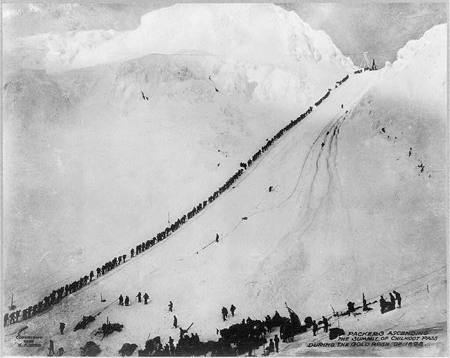"""""""Please line up single file to access the savage wilderness, thank you!""""  Photo credit:  http://www.loc.gov/pictures/resource/cph.3a29253/"""