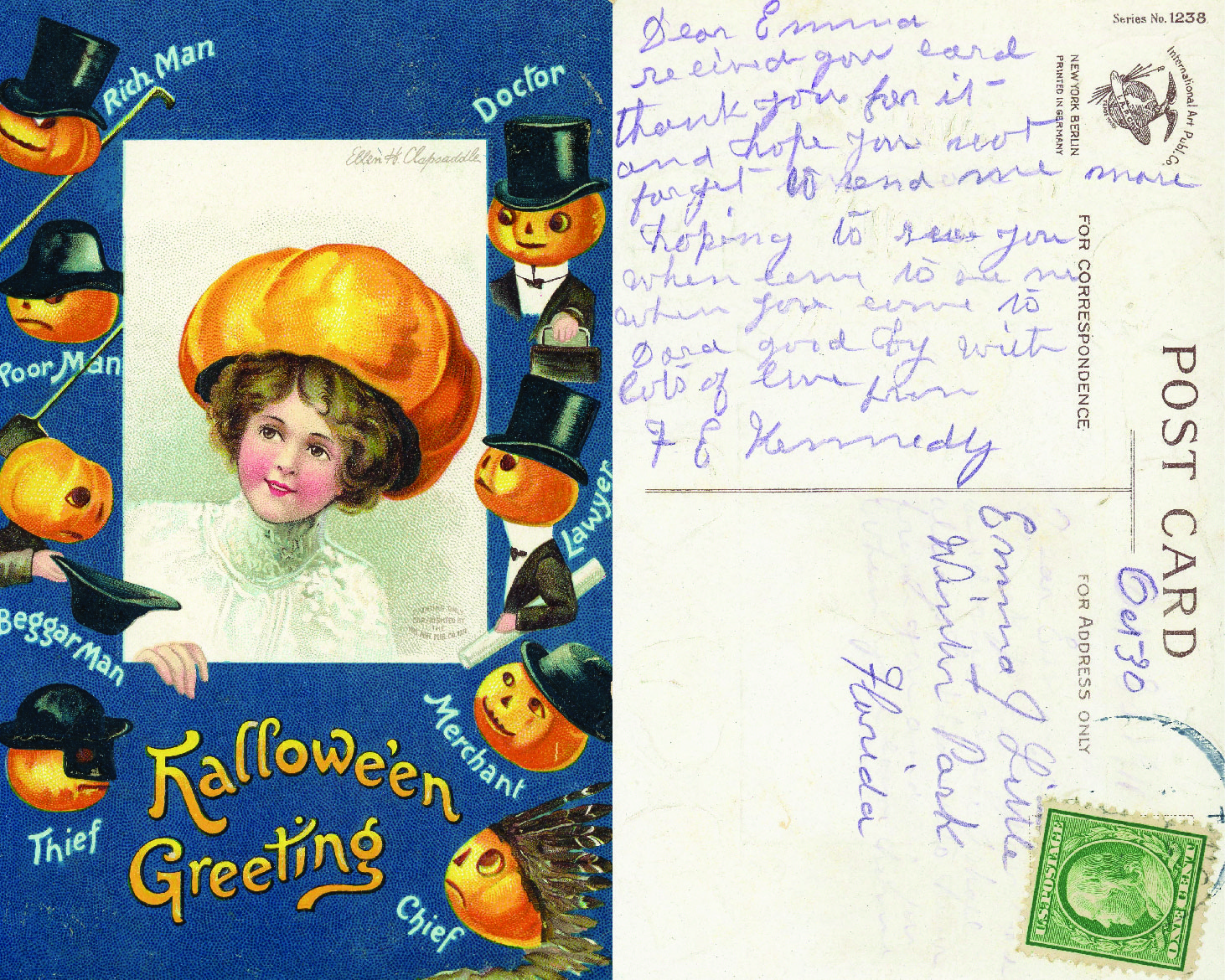 """Sent from unknown (ca. 1905-1910) to Winter Park, FL.  """"Dear Emma, Received your card. Thank you for it and hope you won't forget to send me more. Hope to see you when come [?] to see me [?] when you come to Dora [Mt. Dora, FL] good by with lots of love from F E Kennedy"""""""
