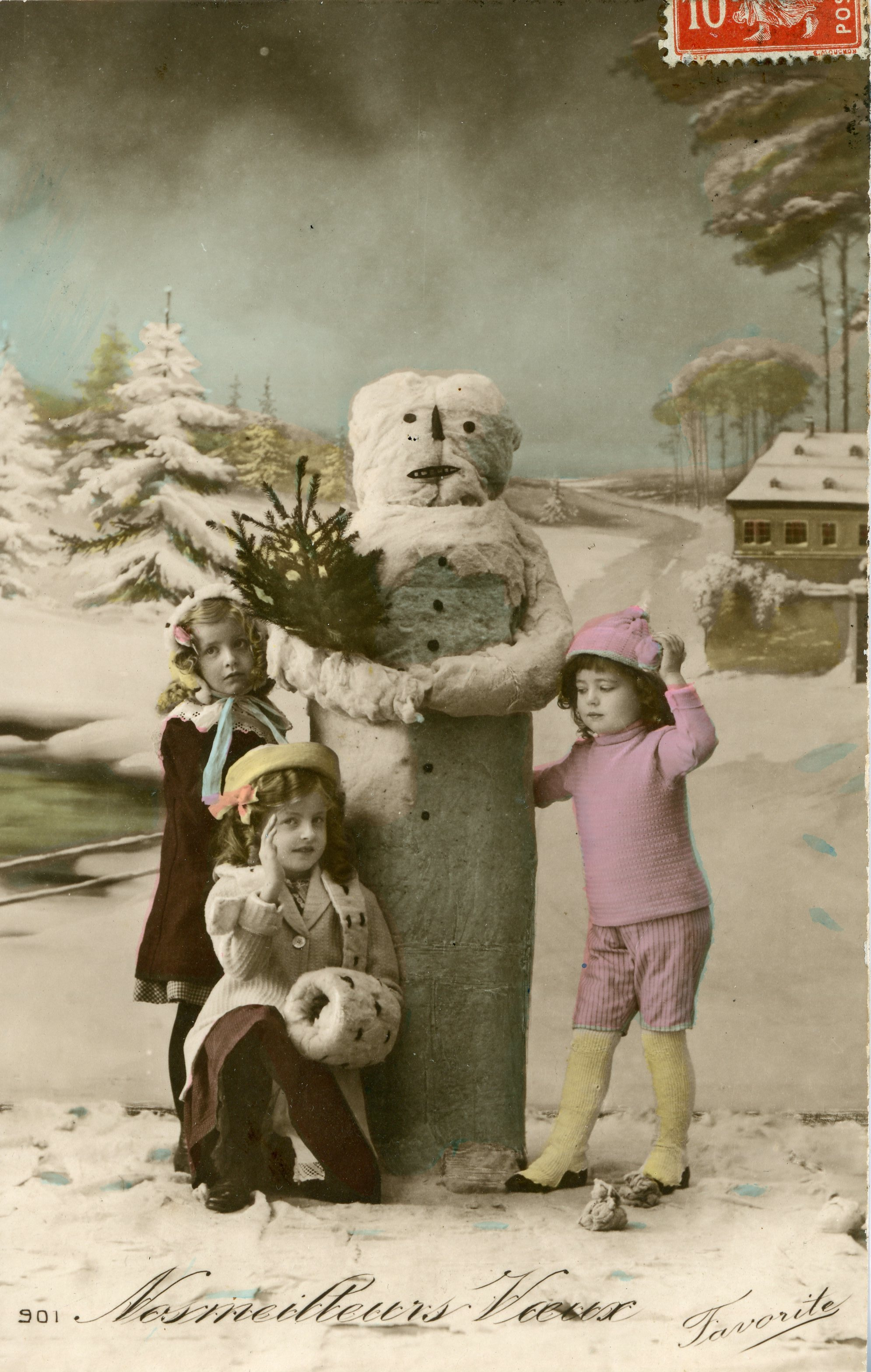 French-made card ca. 1908 (love the cotton snowman!).