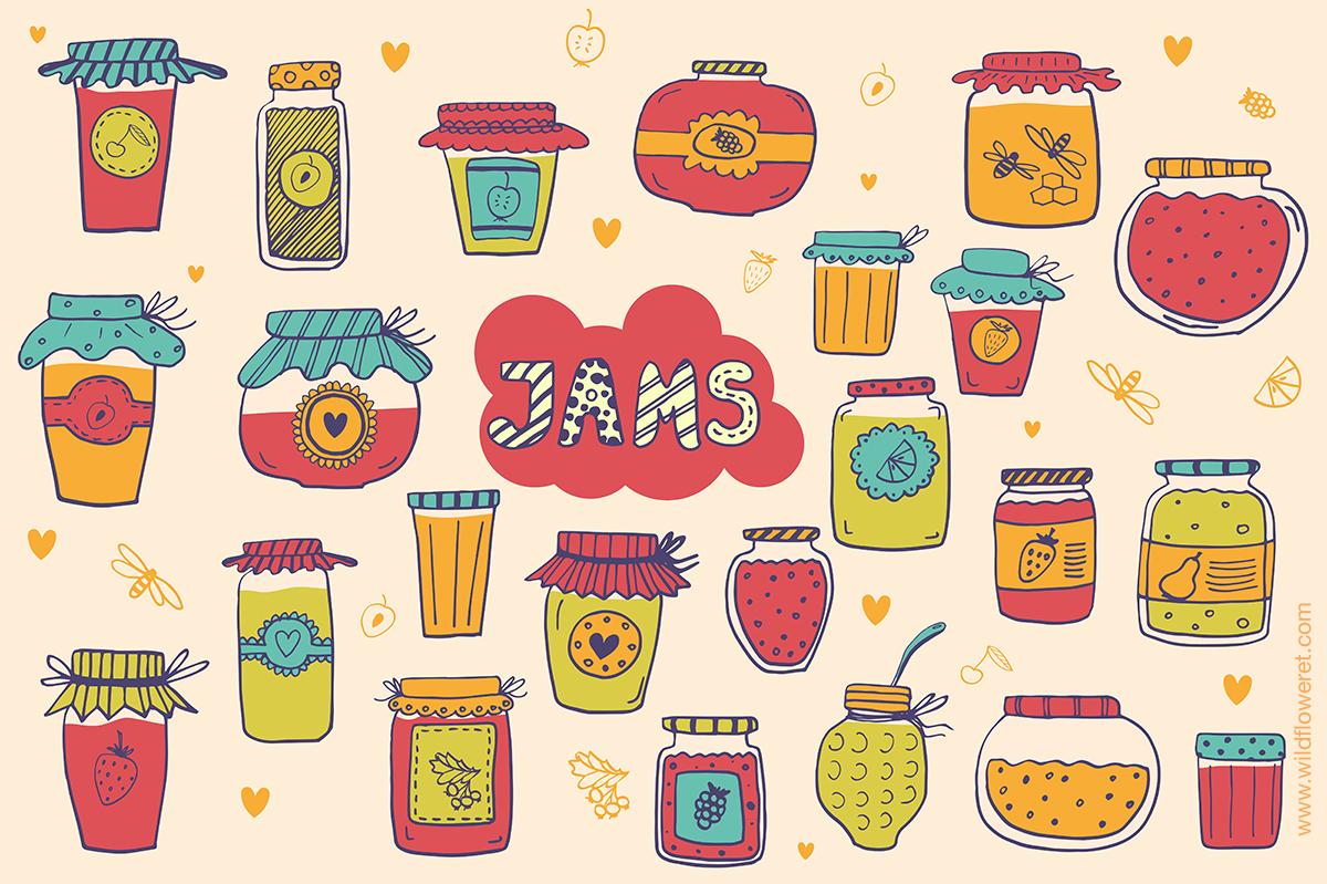 Hand drawn jam-jars