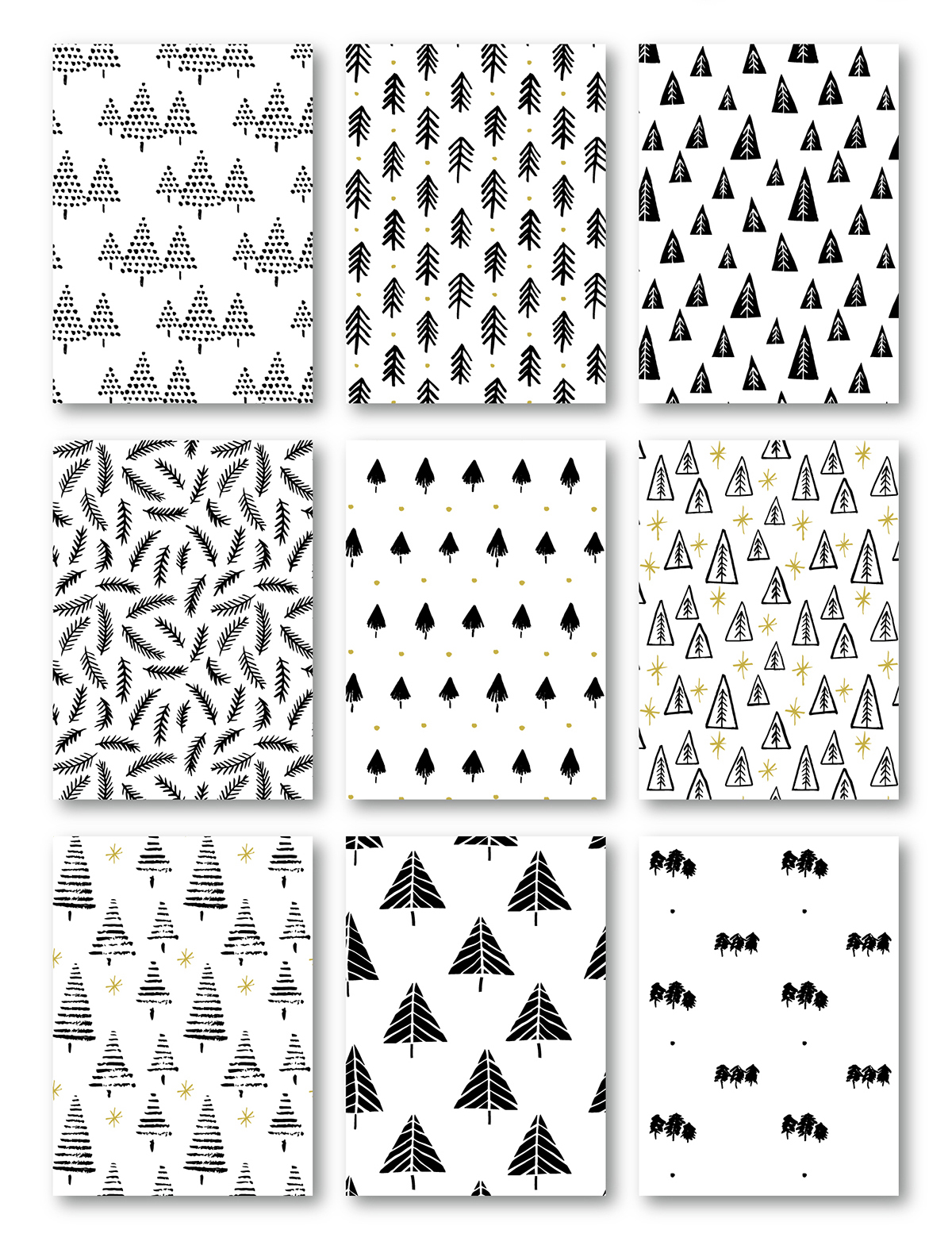 A collection of handdrawn Christmas trees. Decorative elements and repeat patterns by Type and Graphics Lab | Available for sale  |  typeandgraphicslab.com