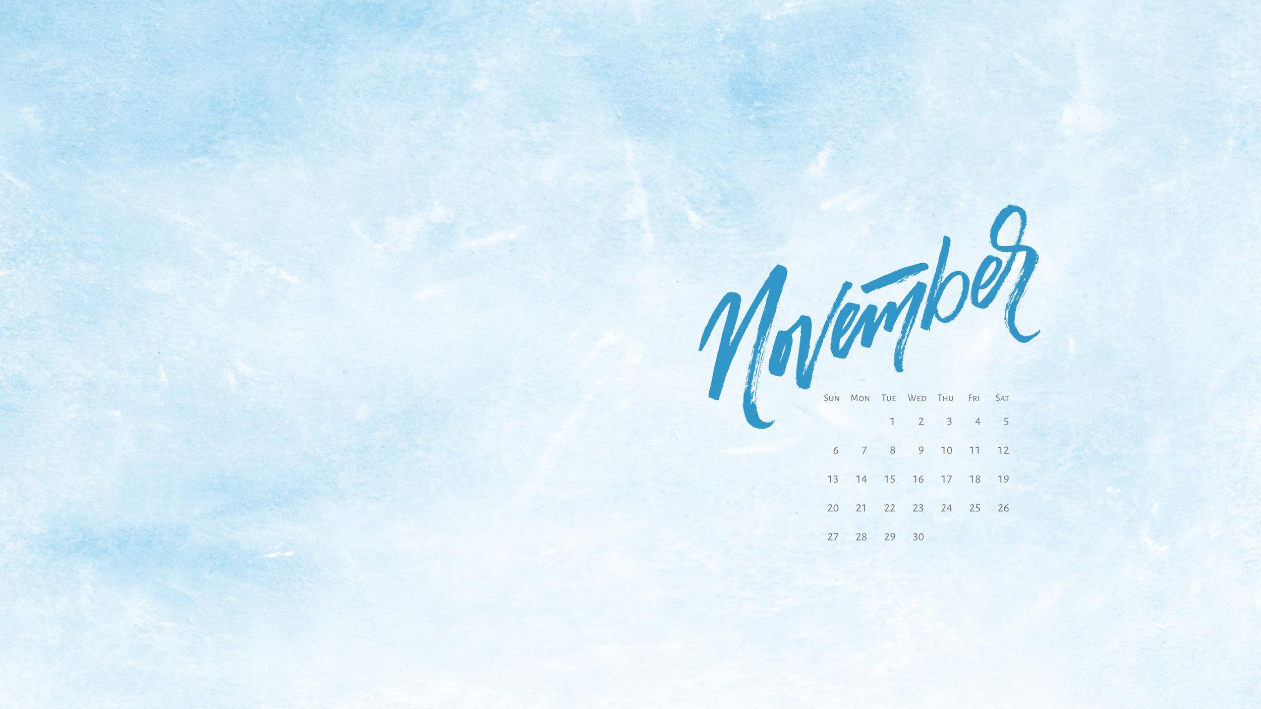 Free desktop calendar for November 2016. For personal use only  |  ©  t  ypeandgraphicslab.com