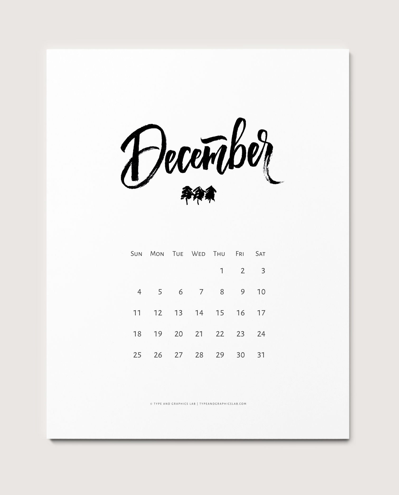 Free   printable calendar for December 2016. For personal use only | © typeandgraphicslab.com