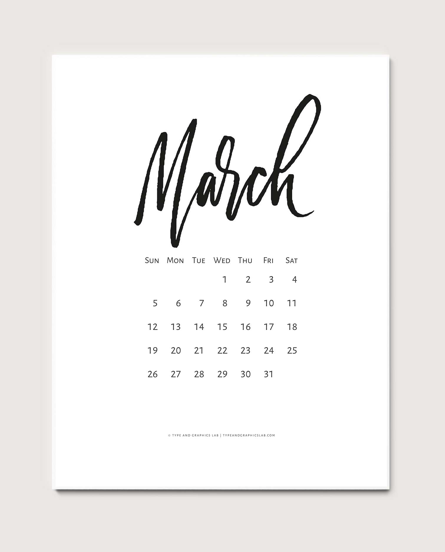 Download a free printable calendar for March 2017 |©typeandgraphicslab.com | For personal use only