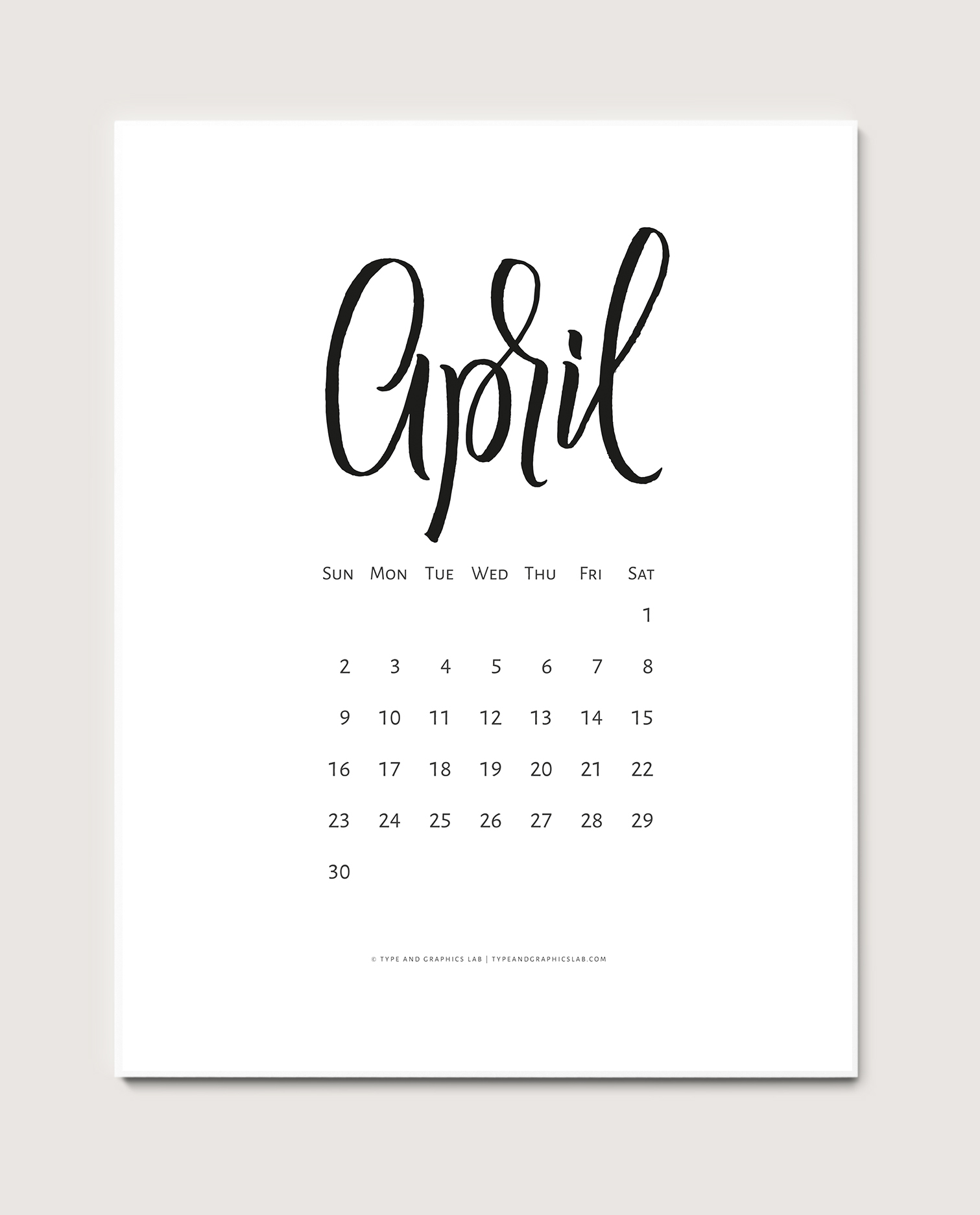 Download a free printable calendar for April 2017 |©typeandgraphicslab.com | For personal use only