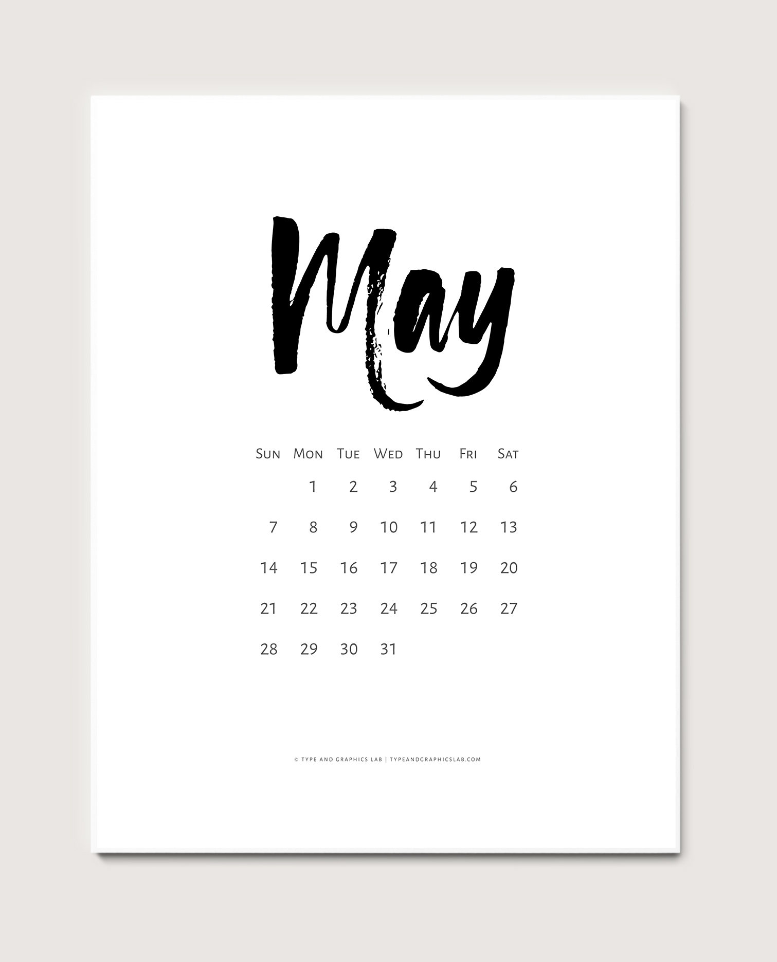 Download a free printable calendar for May 2017 |©typeandgraphicslab.com | For personal use only