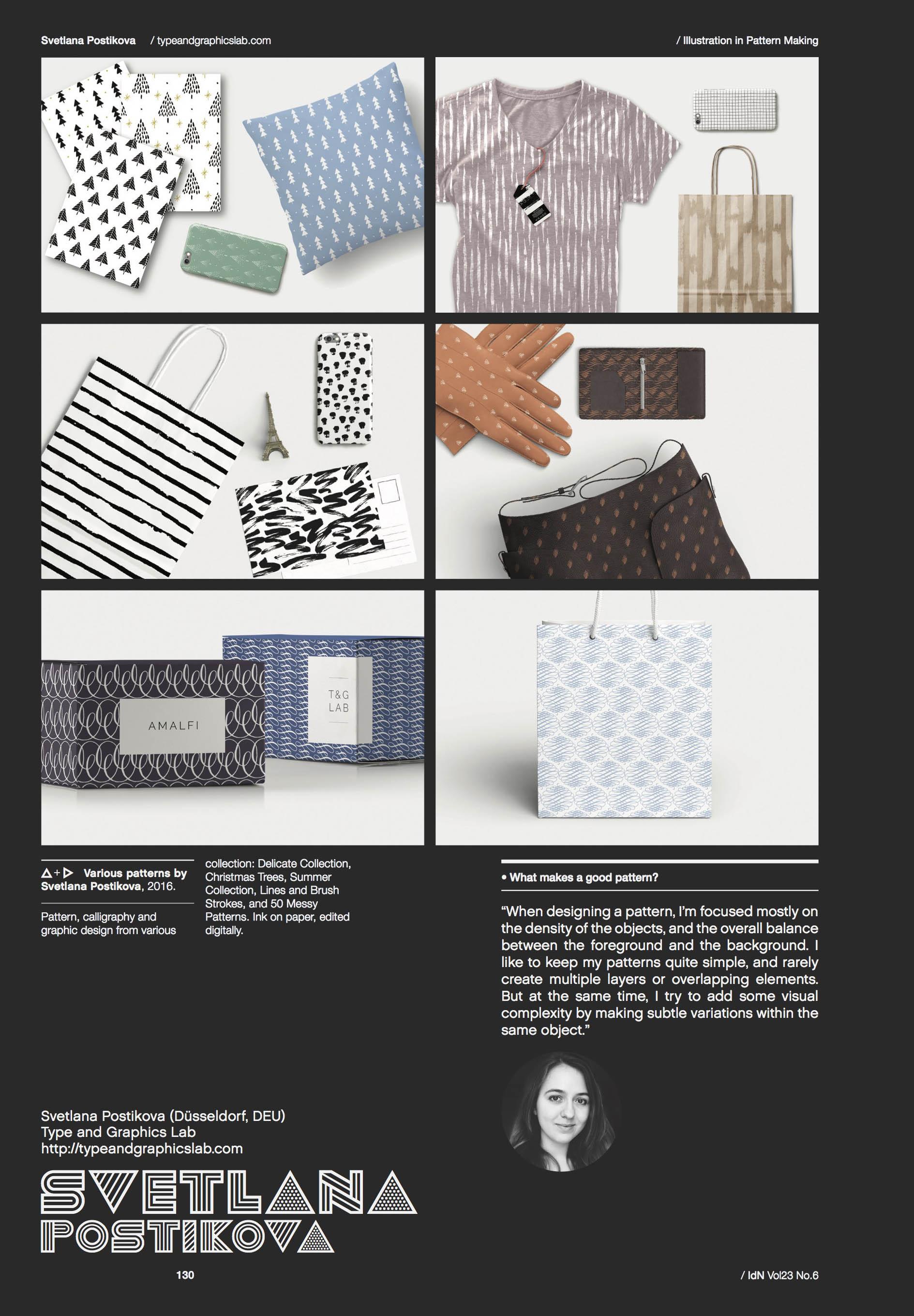 The spread with Svetlana Postikova's work from IdN Magazine v23n6: Illustration in Pattern Making.
