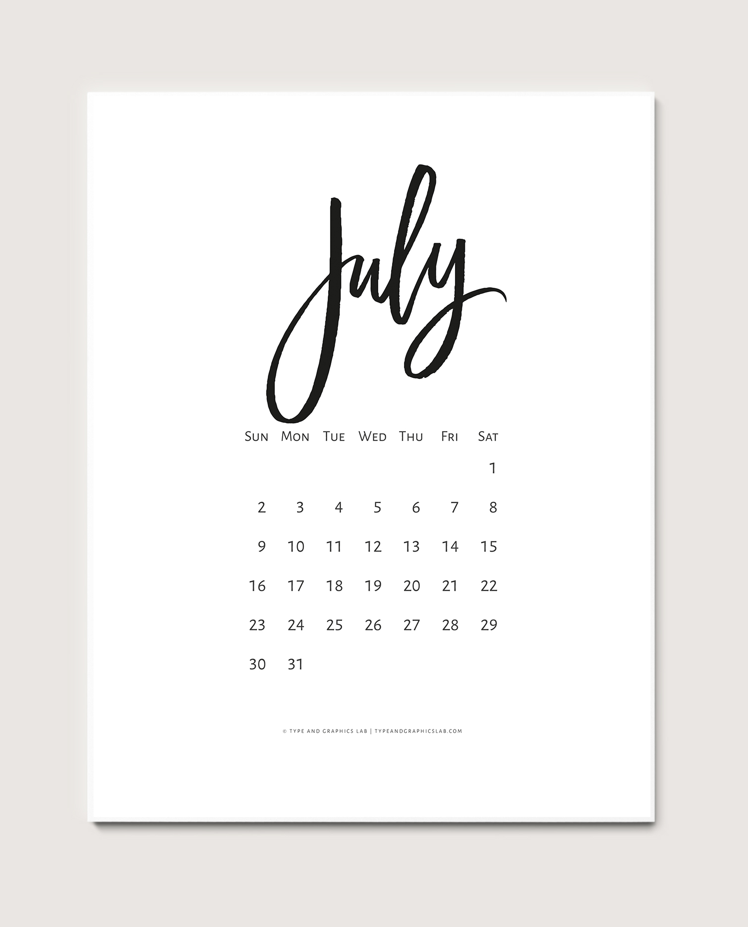 Download a free printable calendar for July 2017 | © typeandgraphicslab.com | For personal use only