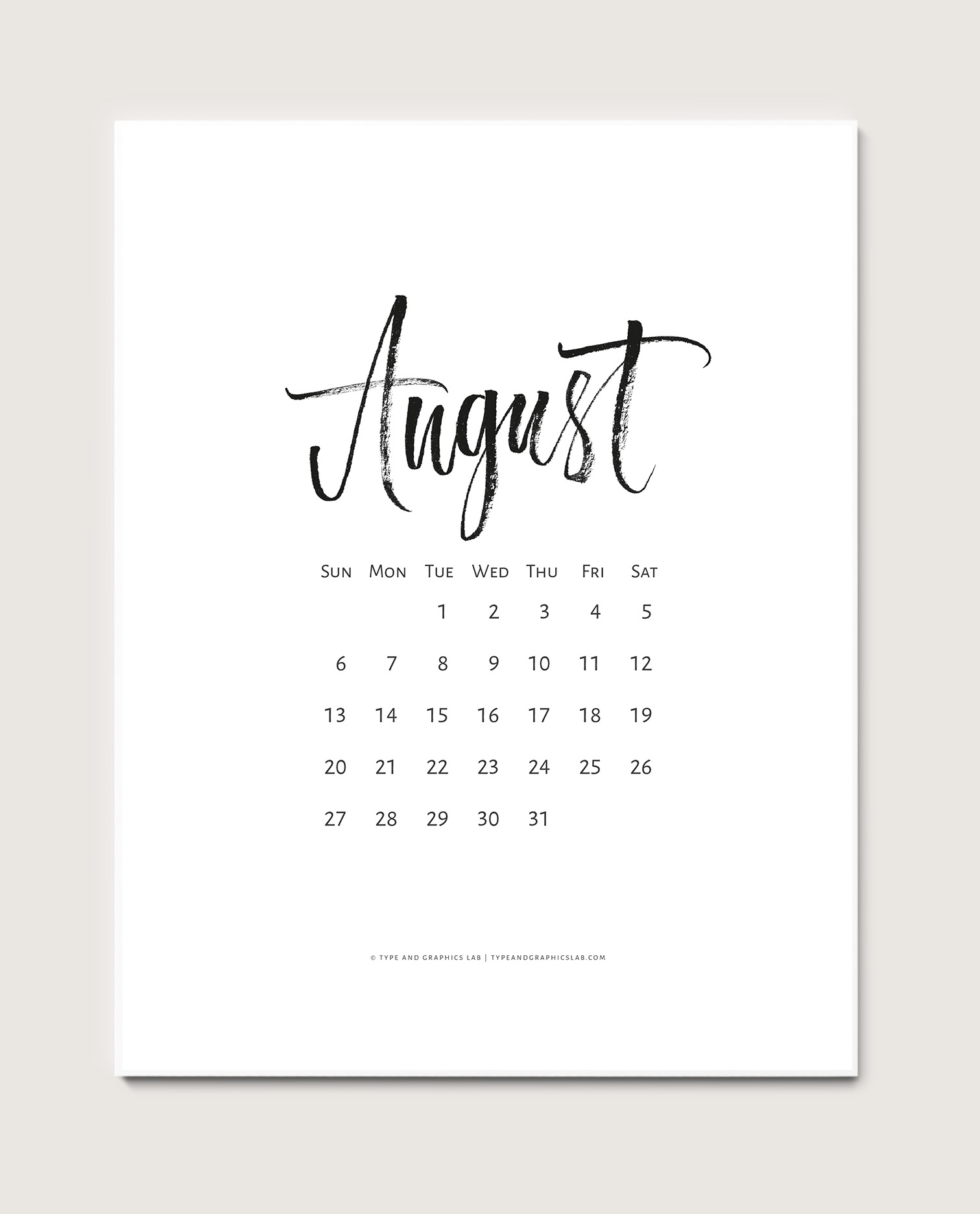 Download a free printable calendar for August 2017 |©typeandgraphicslab.com | For personal use only