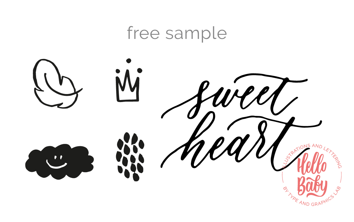 "Try a free sample of ""HELLO BABY,"" a collection of cute hand drawn illustrations, lettering overlays & surface patterns designed to welcome the little ones. It's a perfect bundle to decorate your baby shower cards, nursery art prints, and, of course, to announce the arrival of a new little person in your life! Available on Creative Market:  https://crmrkt.com/GJqGNo"