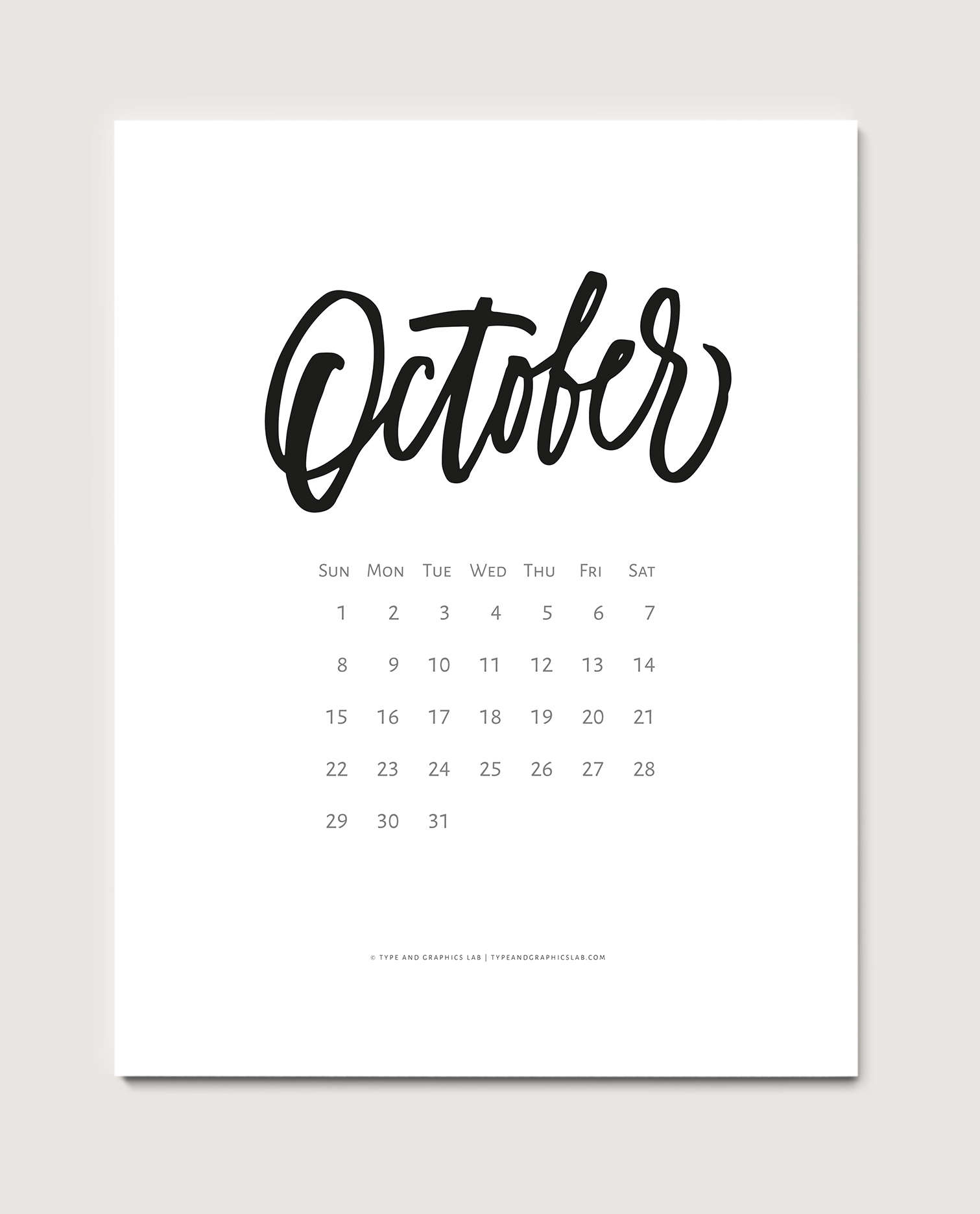 Download a free printable calendar for October 2017 |©typeandgraphicslab.com | For personal use only