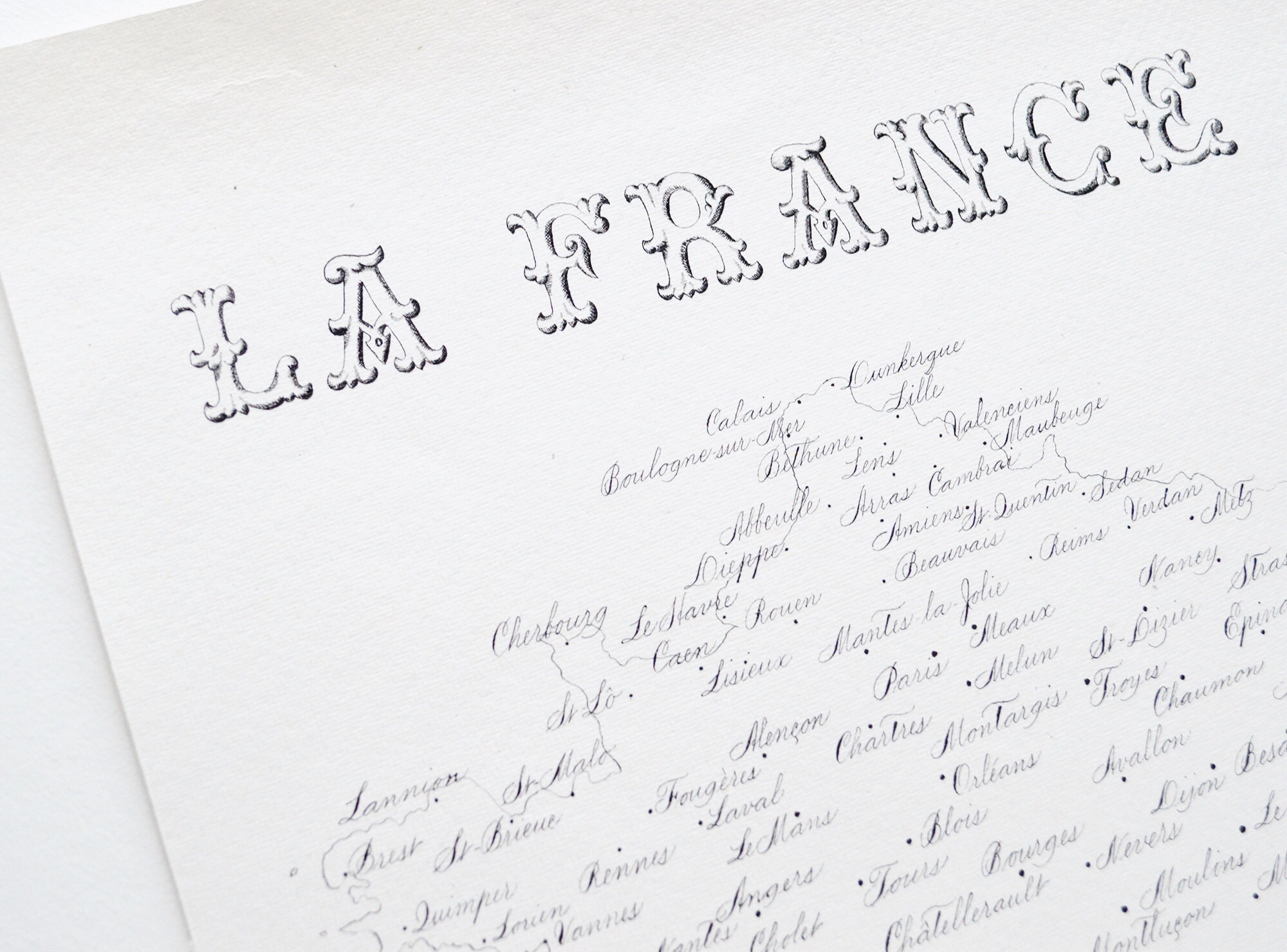 A hand written map La France | Calligraphy by Type and Graphics Lab