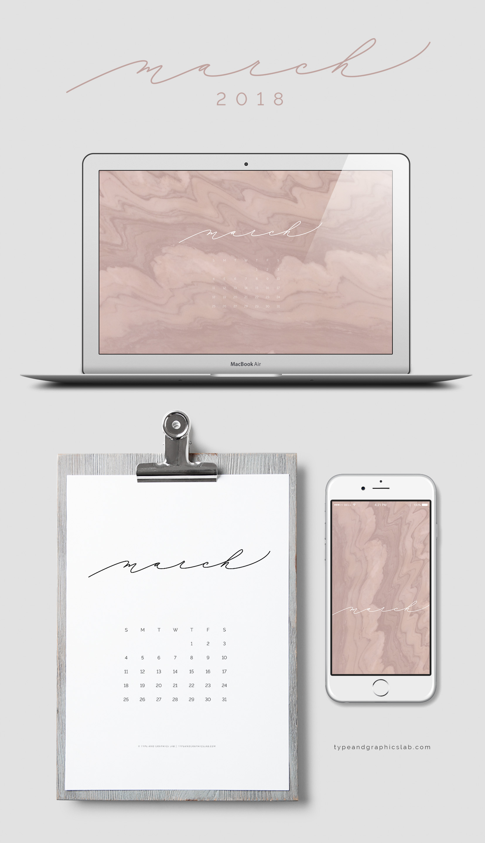 Download free desktop, mobile, and printable calendar for March 2018 |©typeandgraphicslab.com | For personal use only